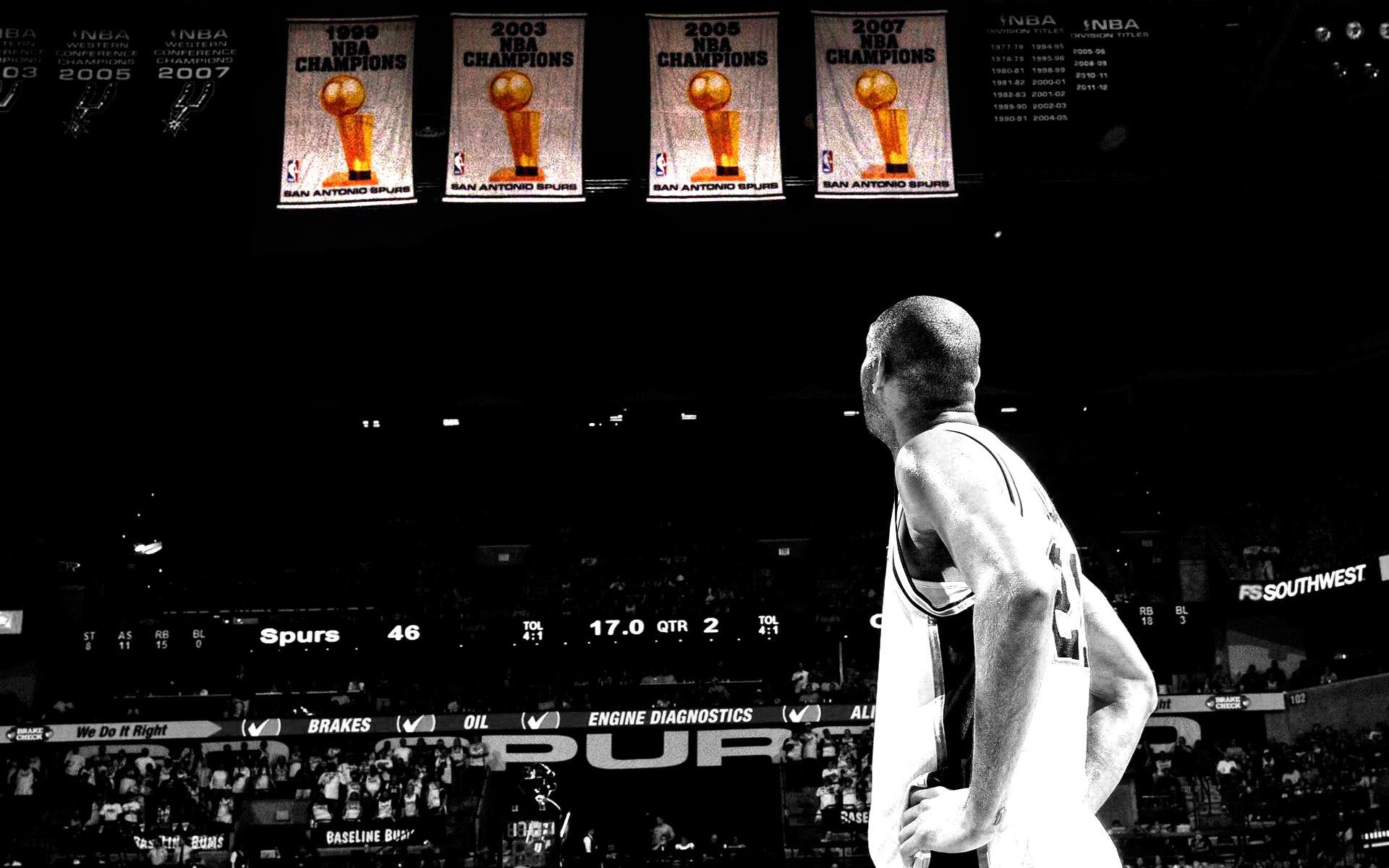Tim Duncan Spurs Championship Banners Wallpaper