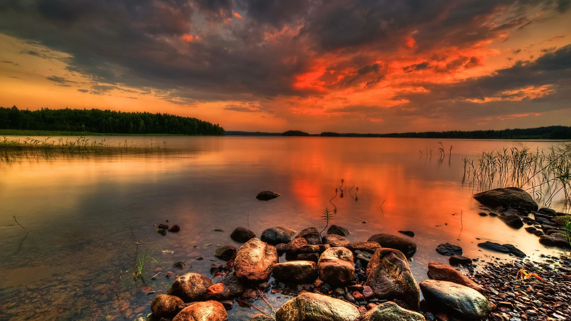 Stones Tag – Red Shore Amazing Beach Reflection Quiet Sky Sunset Nice  Beautiful Mirrored Calm Stones