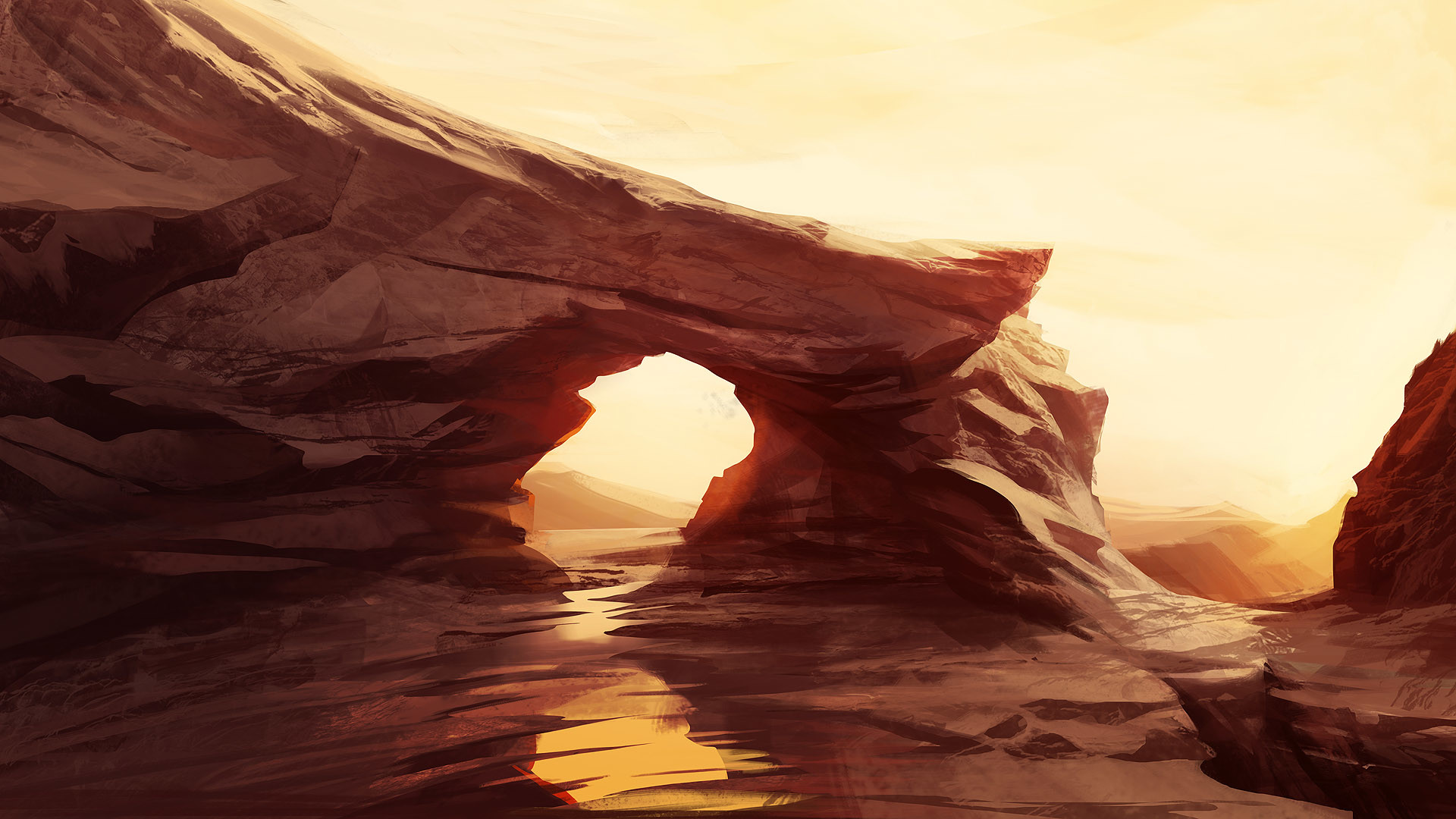 Artistic – Desert Makkon Rock Brown Sun Wallpaper