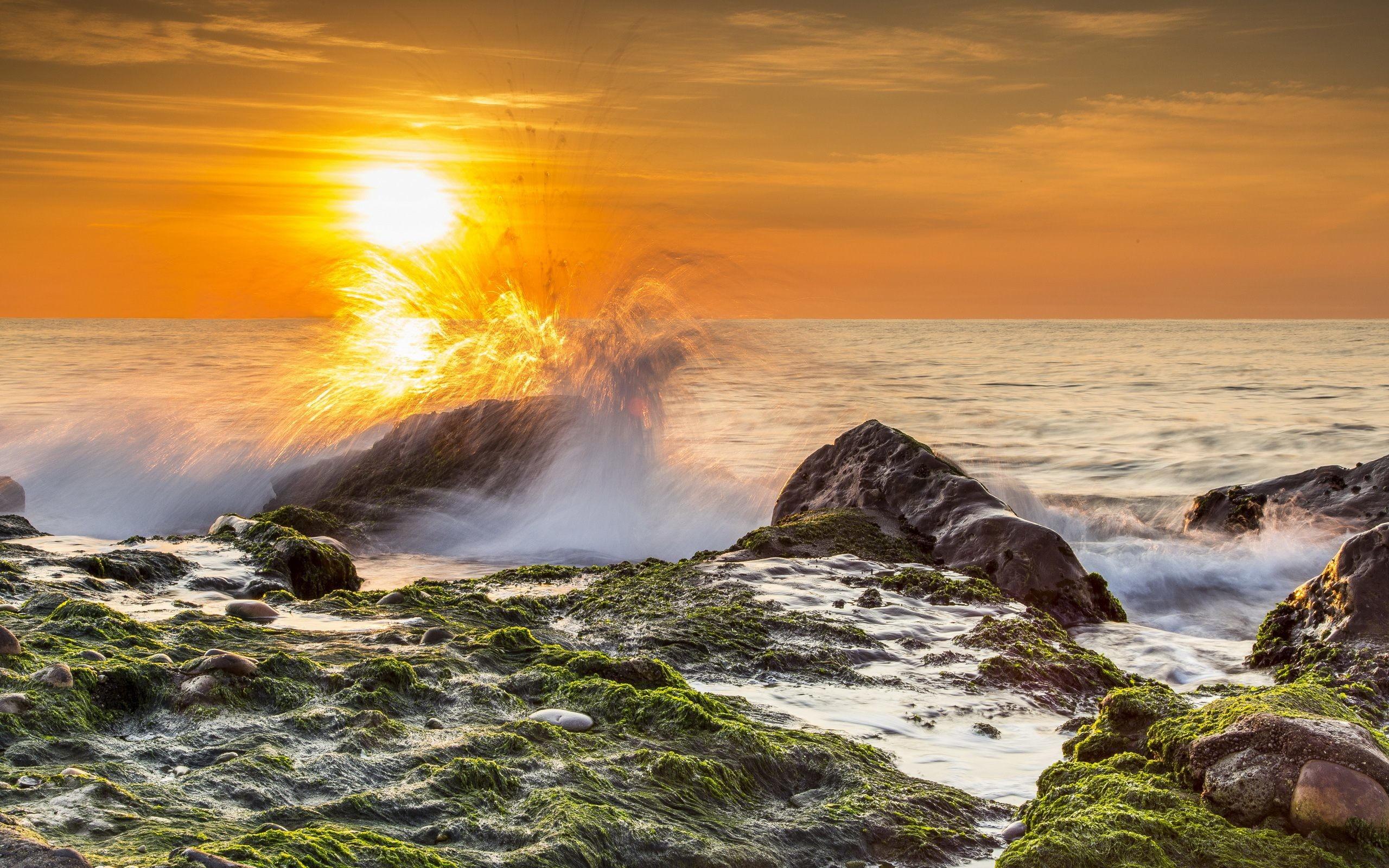 Rocky Beach Sunrise HD Wallpaper