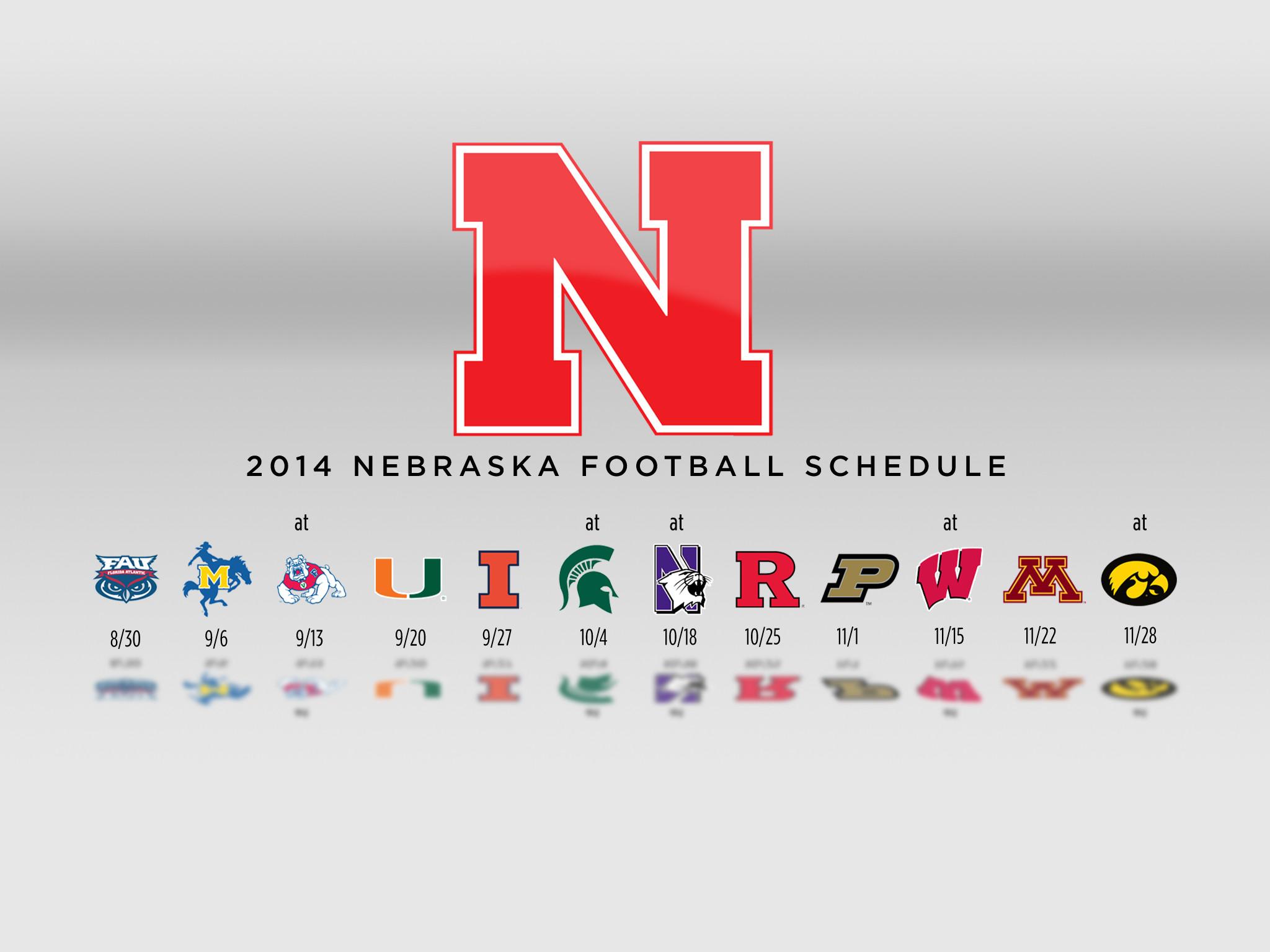 White Background 2014 Nebraska Football Schedule Wallpaper – iPad