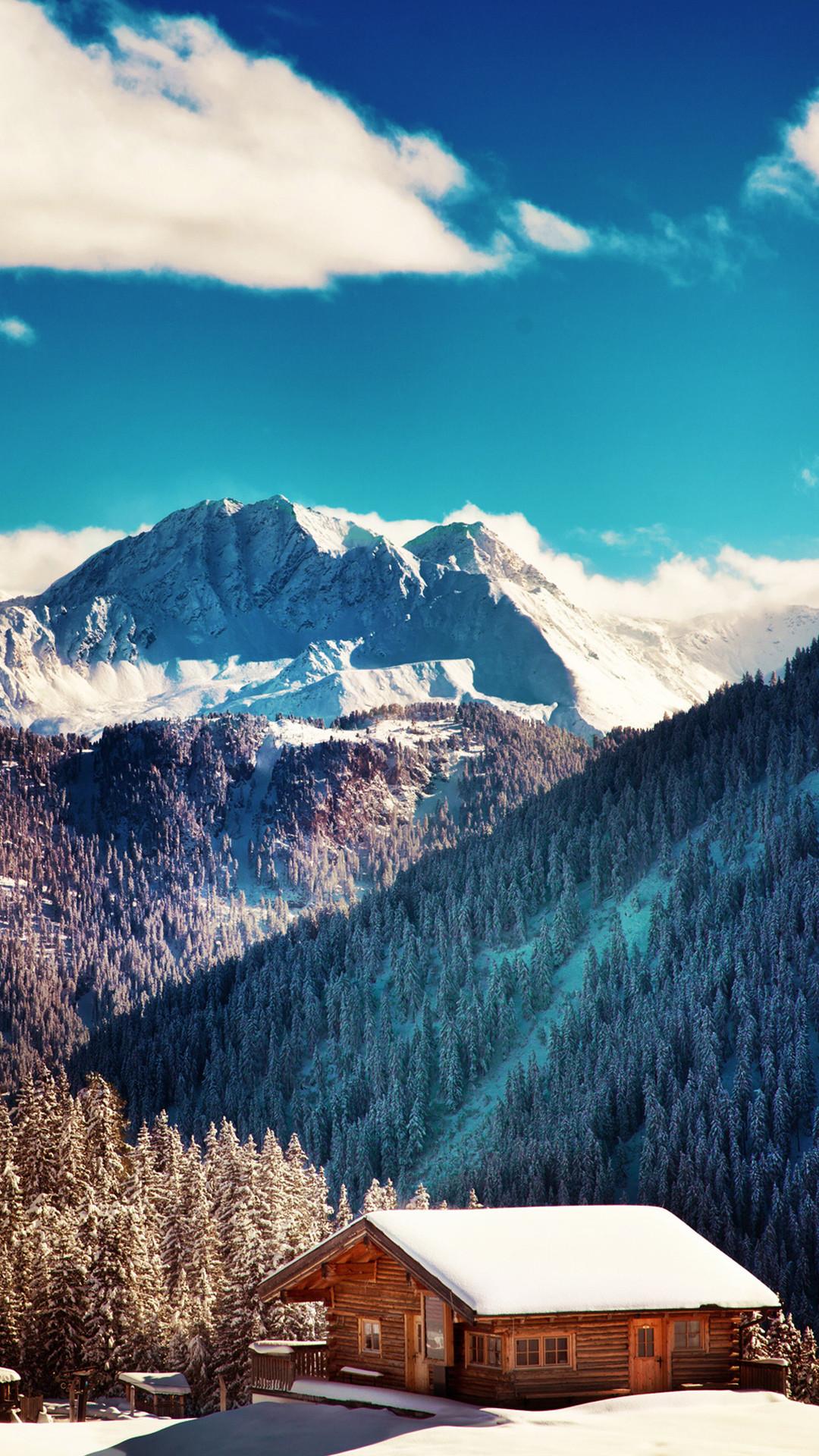 Mountains Chalet Winter Landscape iPhone 7 Plus HD Wallpaper