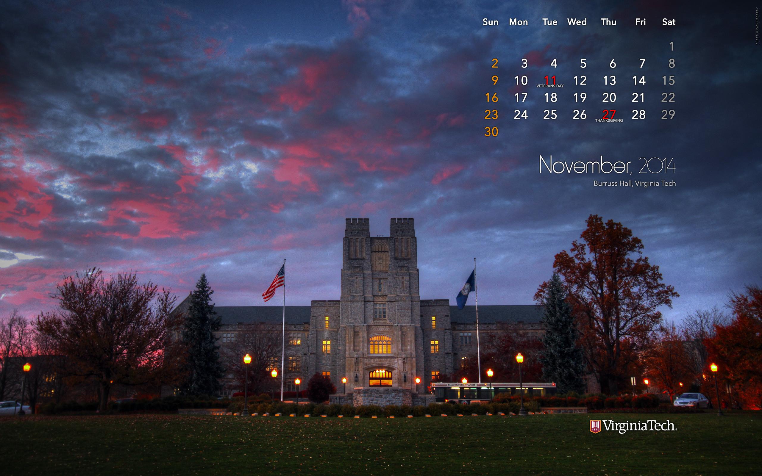 Desktop Wallpaper, November 2014. Virginia Tech. Download: 2560 x 1600 .