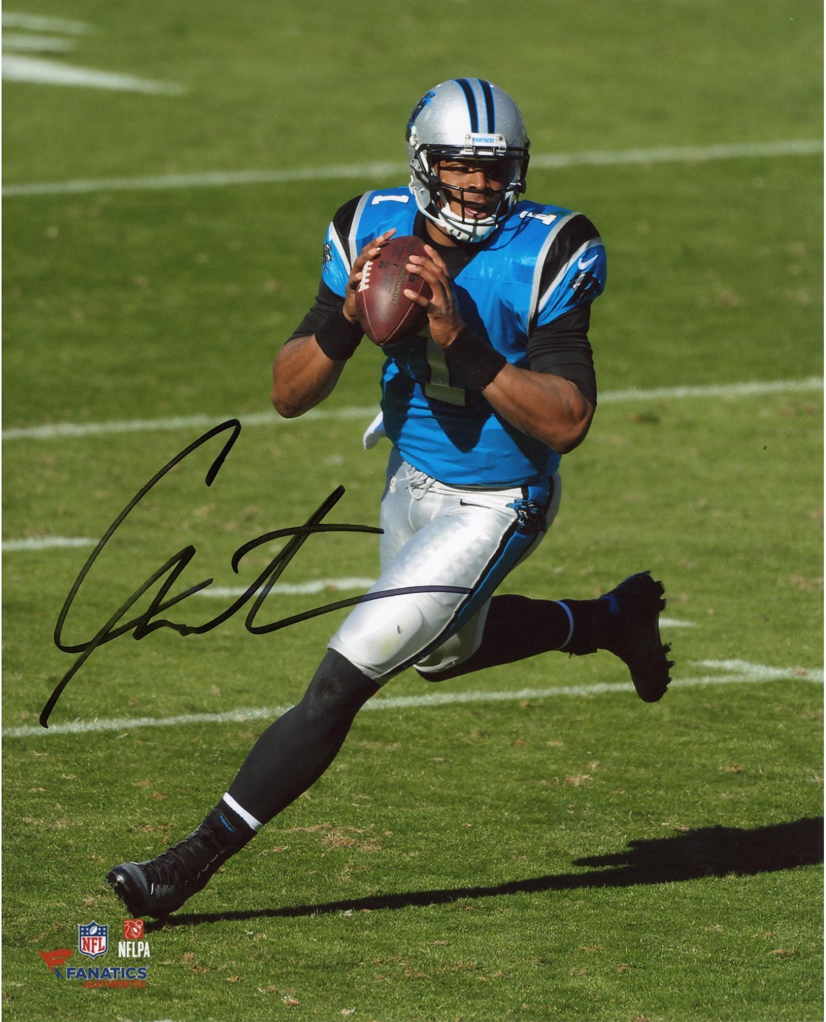 """Cam Newton Carolina Panthers Autographed 8"""" x 10"""" Vertical Scramble  Photograph"""