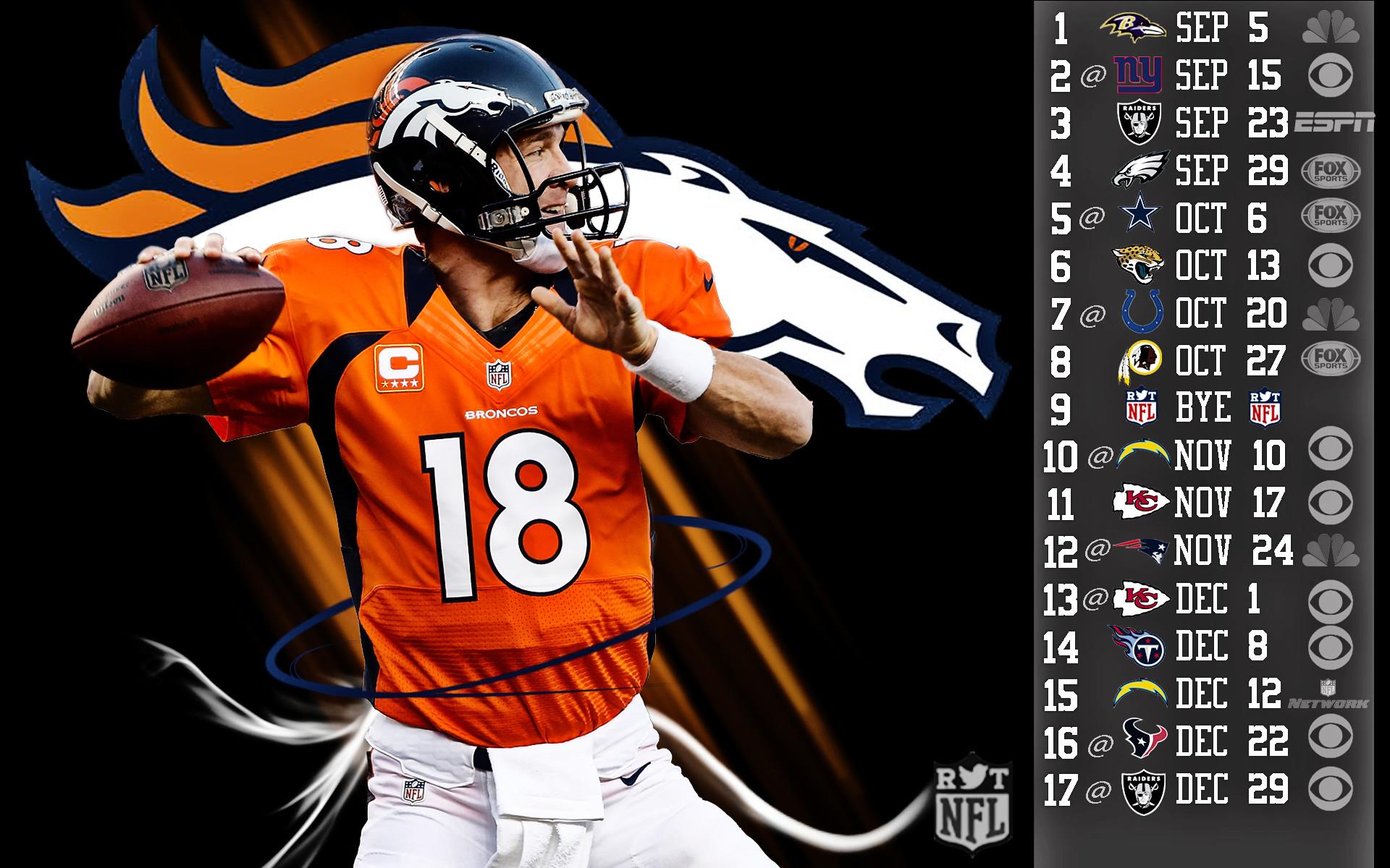 Broncos Peyton Manning 2013 Schedule HDR