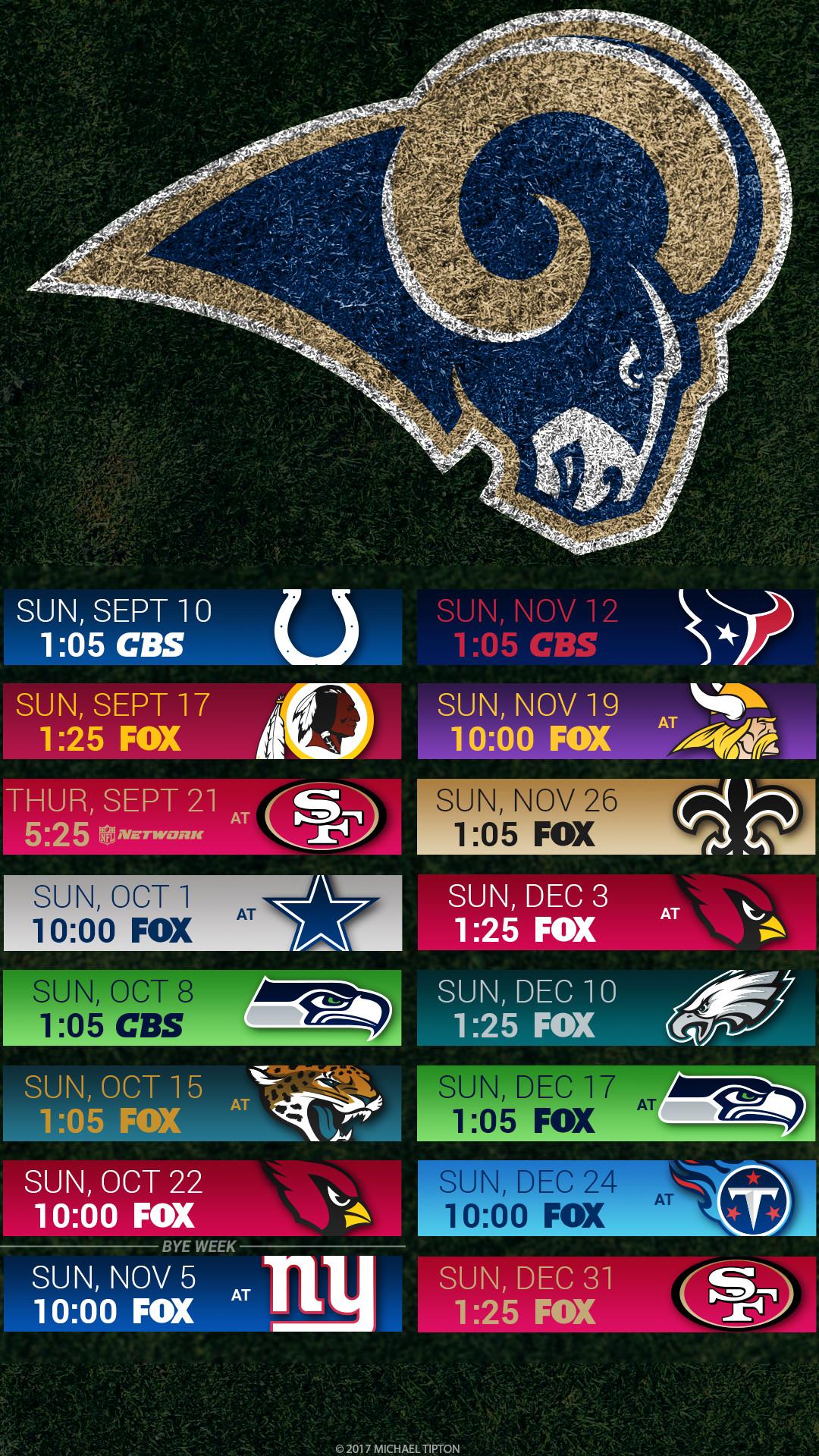 Los Angeles Rams 2017 schedule turf logo wallpaper free iphone 5, 6, 7, …