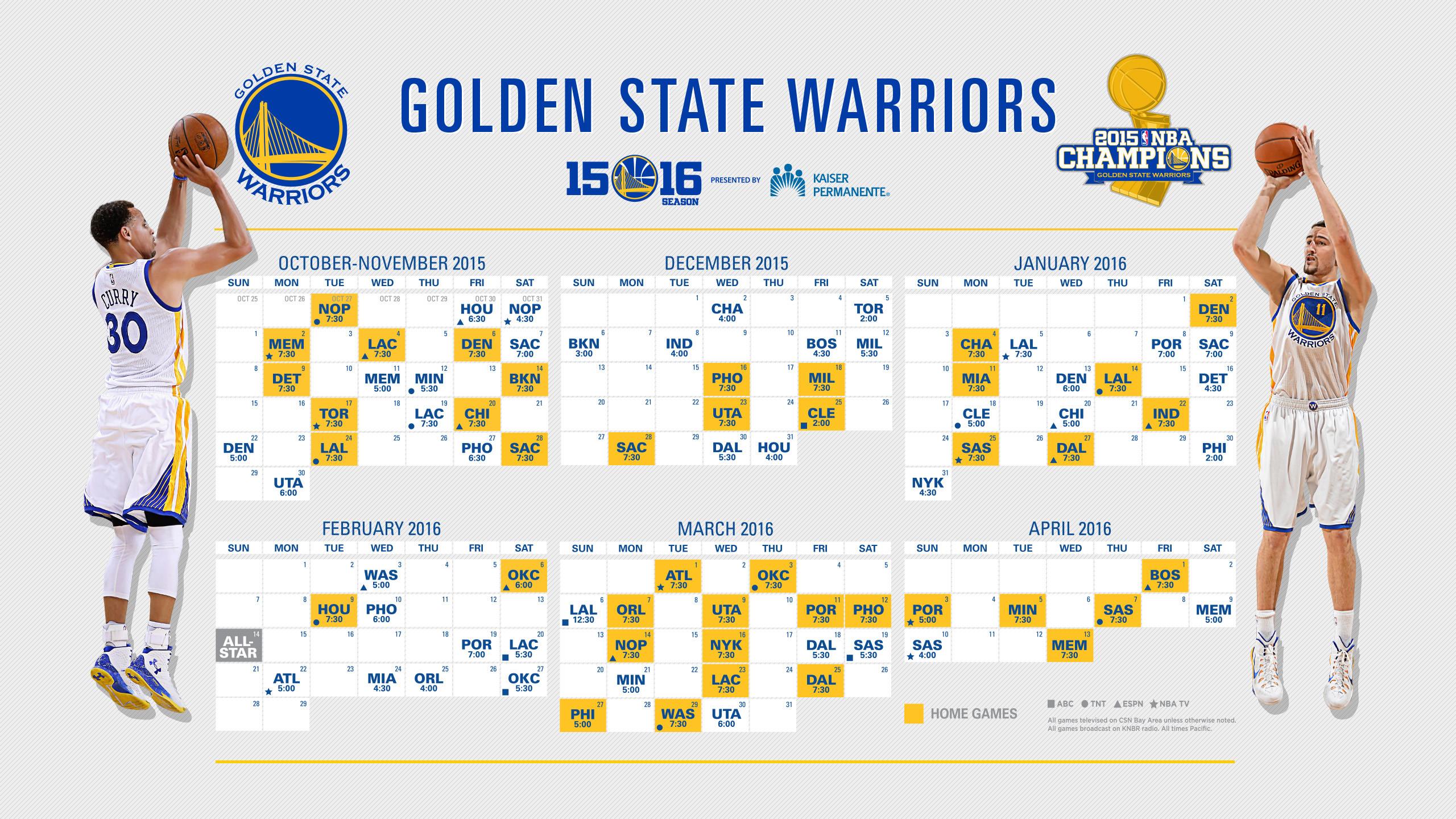 Golden state warriors · 2015-16 Schedule – Wallpaper: 2560×1440
