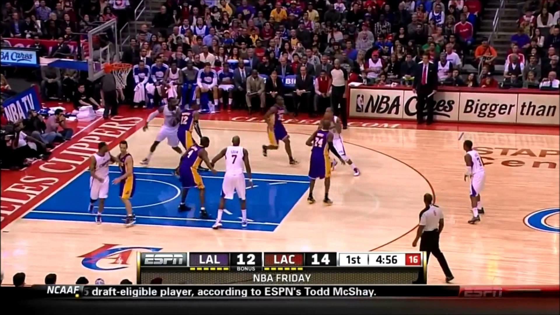 Kobe Bryant Fast Break and Nasty Tomahawk Dunk on Chris Paul (01/04/13)
