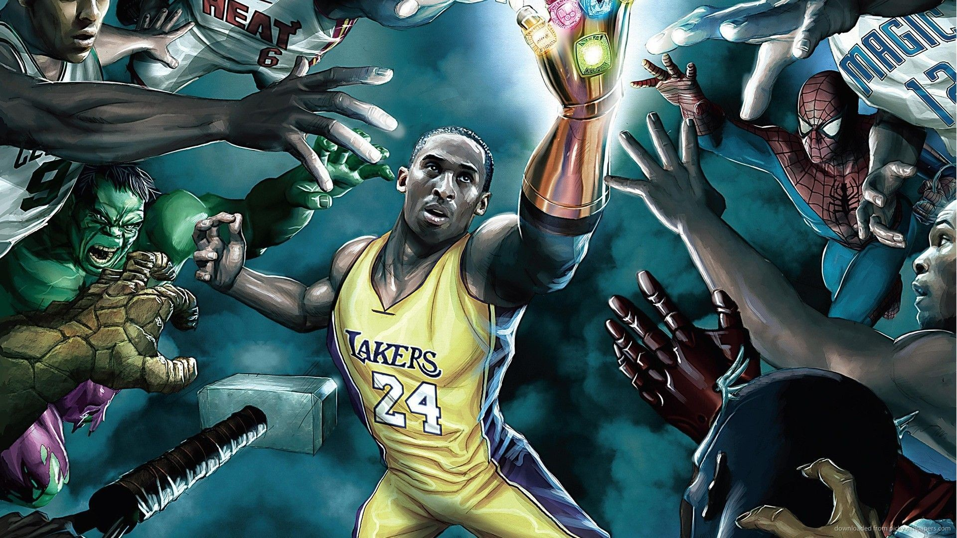 'power moves' featuring basketball players, kobe bryant & lebron james &  marvel super heroes by greg horn