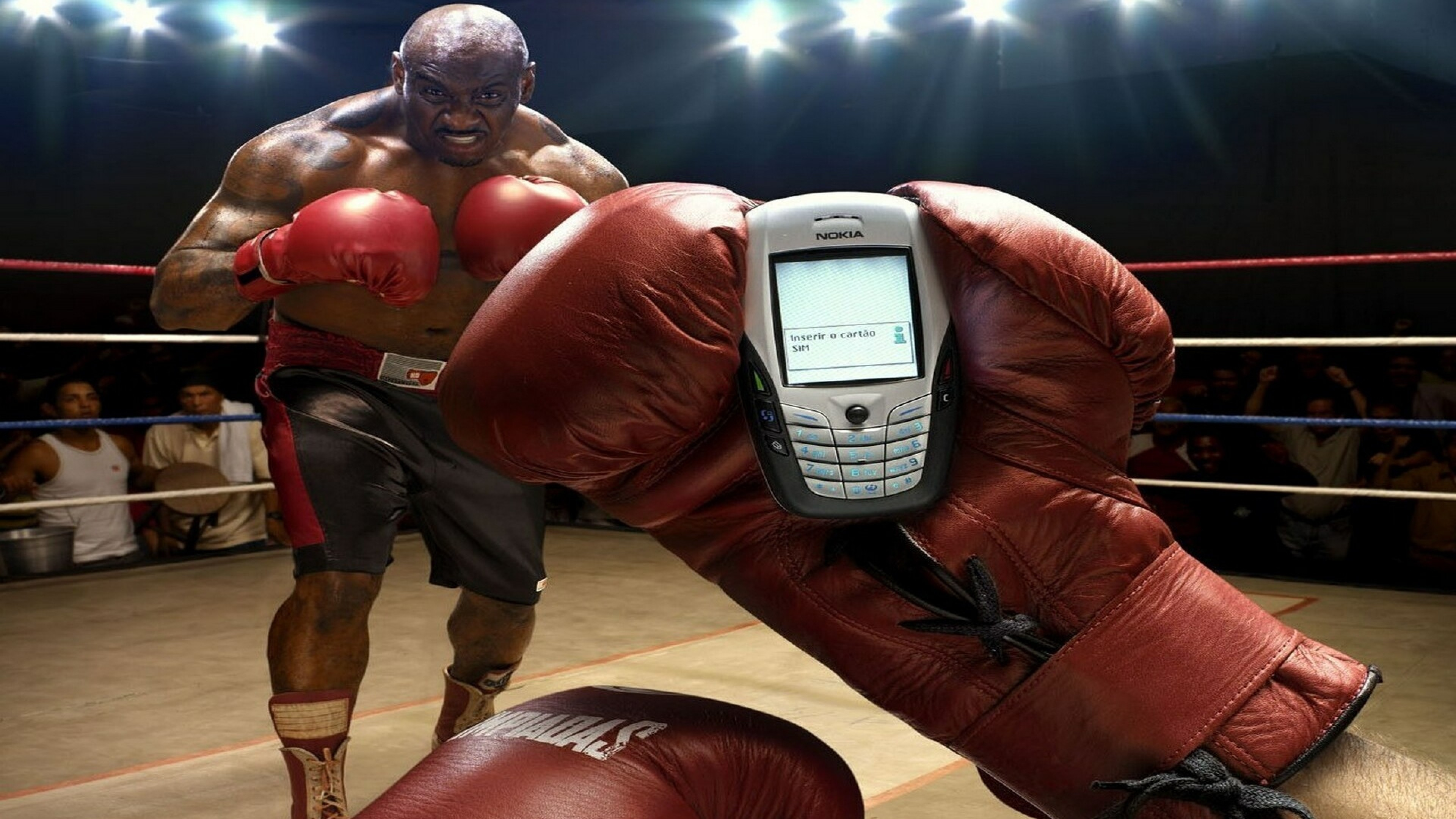 Preview wallpaper boxing, people, hand, glove, phone 3840×2160