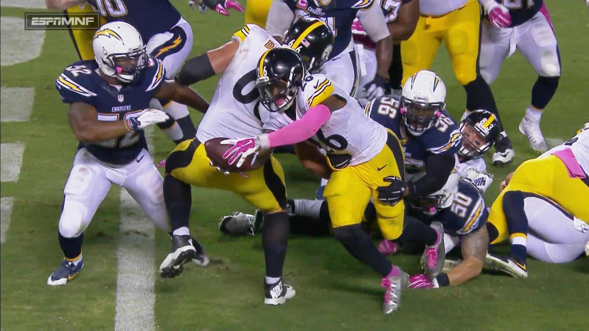 Le'Veon Bell dived into the endzone for a touchdown with just five seconds  remaining