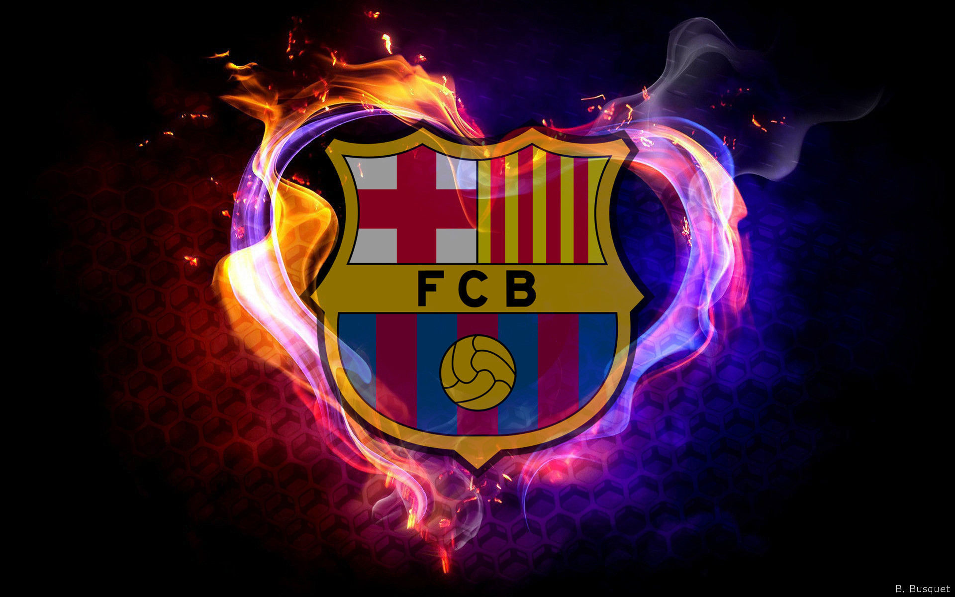 FC Barcelona wallpaper with flames.
