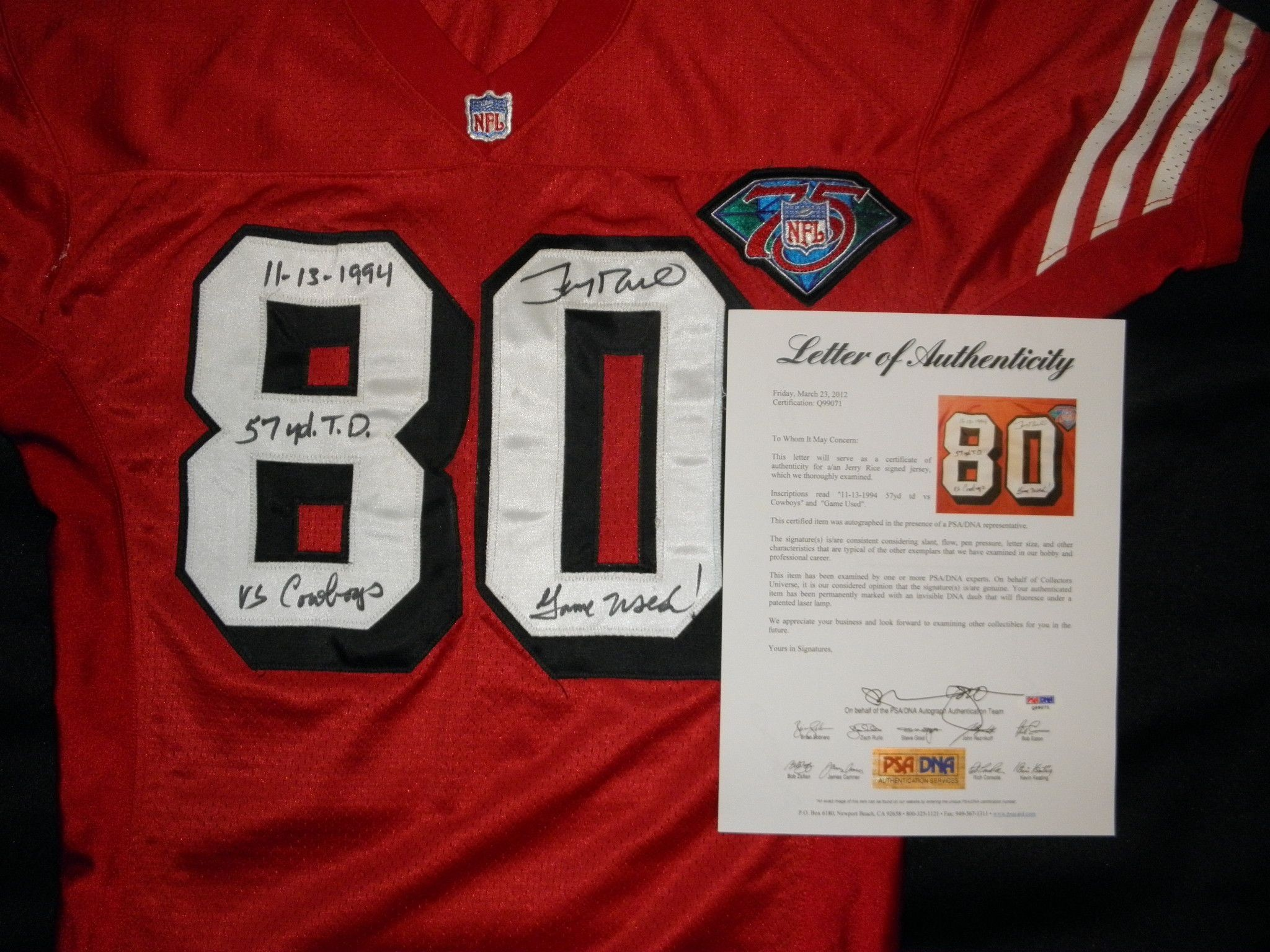 Lot Detail – 1994 Jerry Rice Signed and Inscribed Game Used 49ers Jersey  Super Bowl Champs MEARS A-10