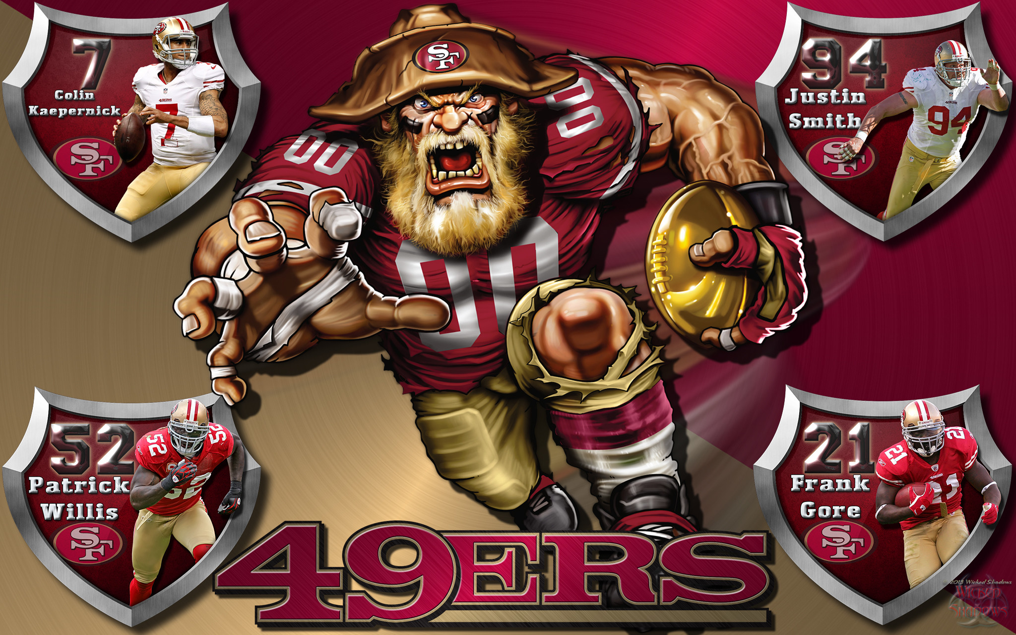 Wallpapers By Wicked Shadows: 49ers Crazy Logo Shield Players .
