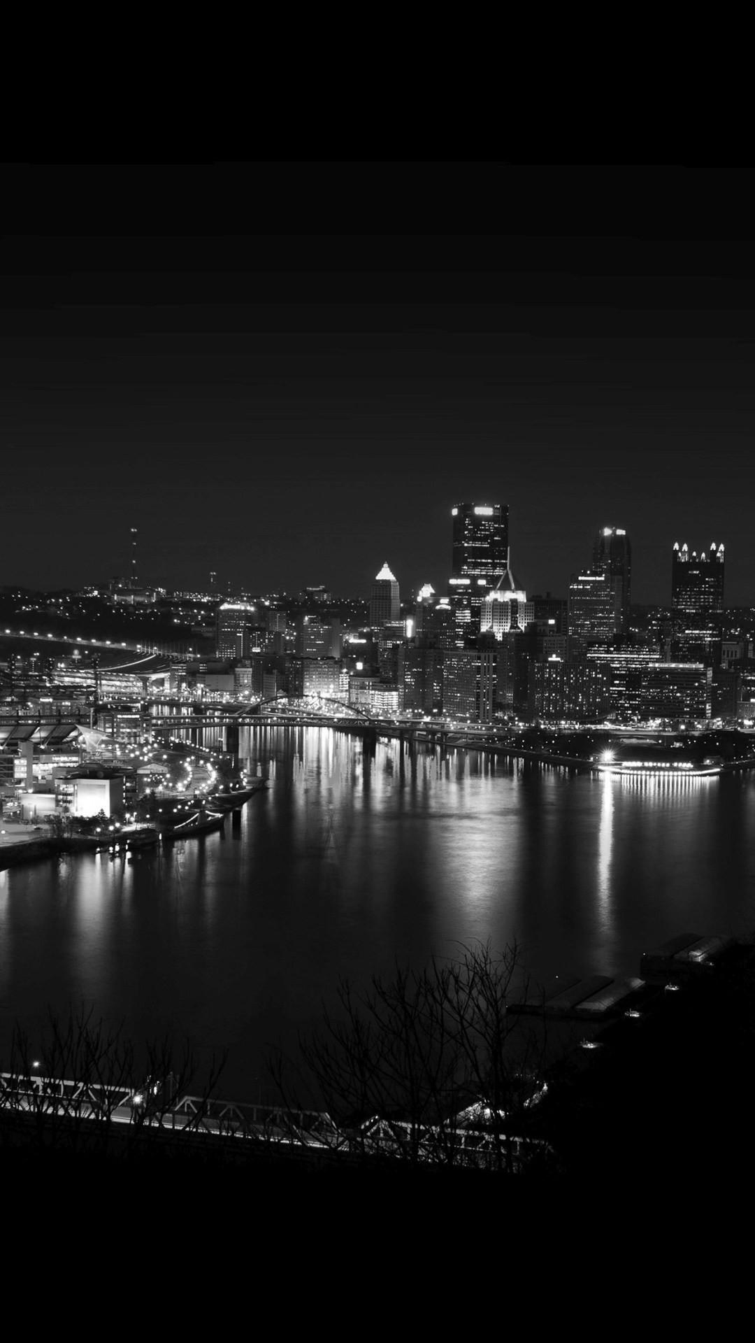 Pittsburgh Skyline Lake City Night iPhone 6+ HD Wallpaper