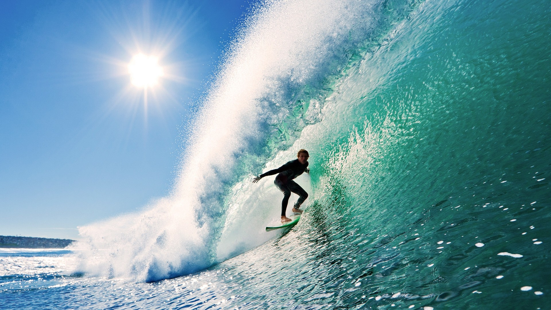 Preview wallpaper surfing, wave, sun, sky 1920×1080