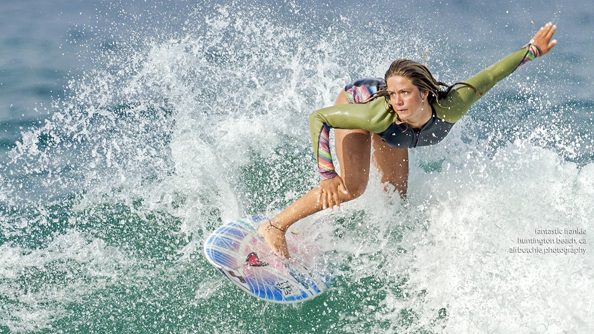 Wallpaper suit neuprene Girls Sport Surfing Spray Water 1920×1080