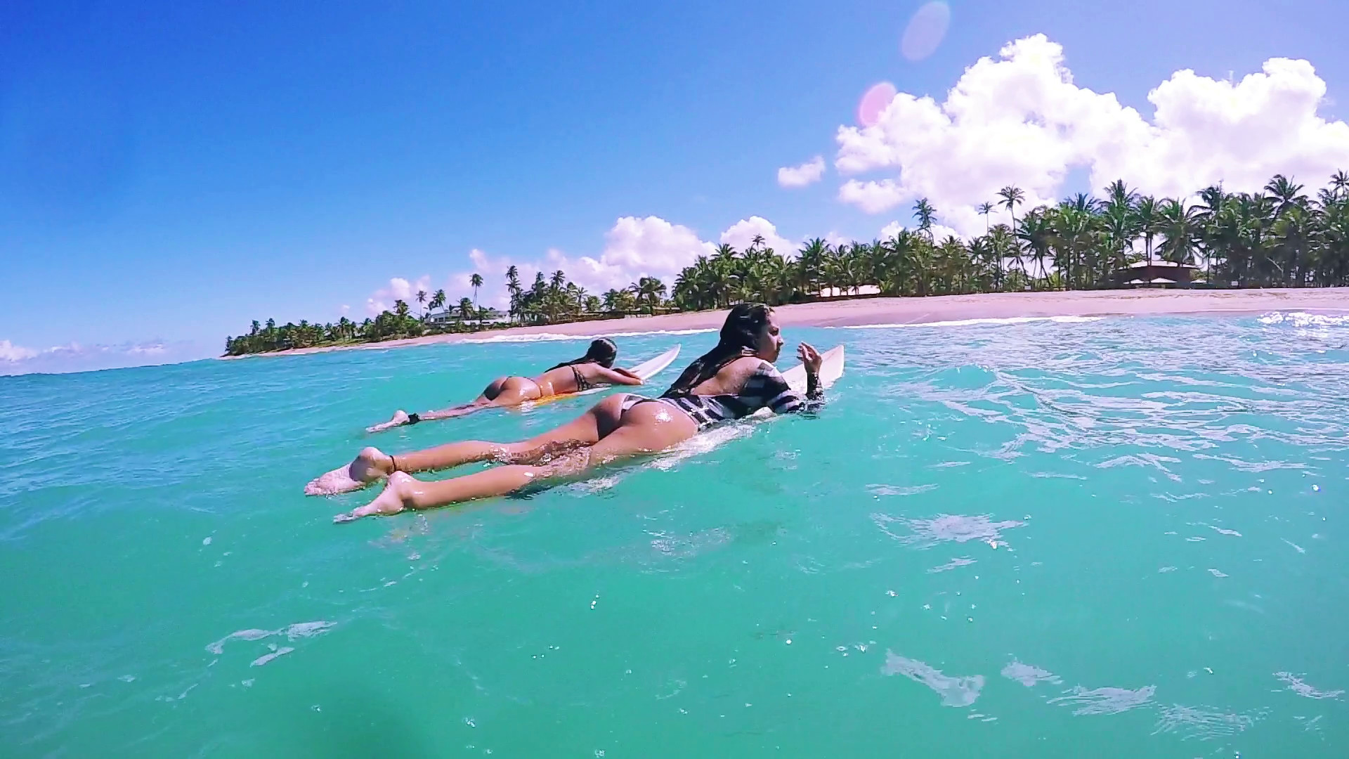 Two Attractive Surf Girls Laying On Surfboard Waiting To Catch Wave, Surfing  Stock Video Footage – VideoBlocks