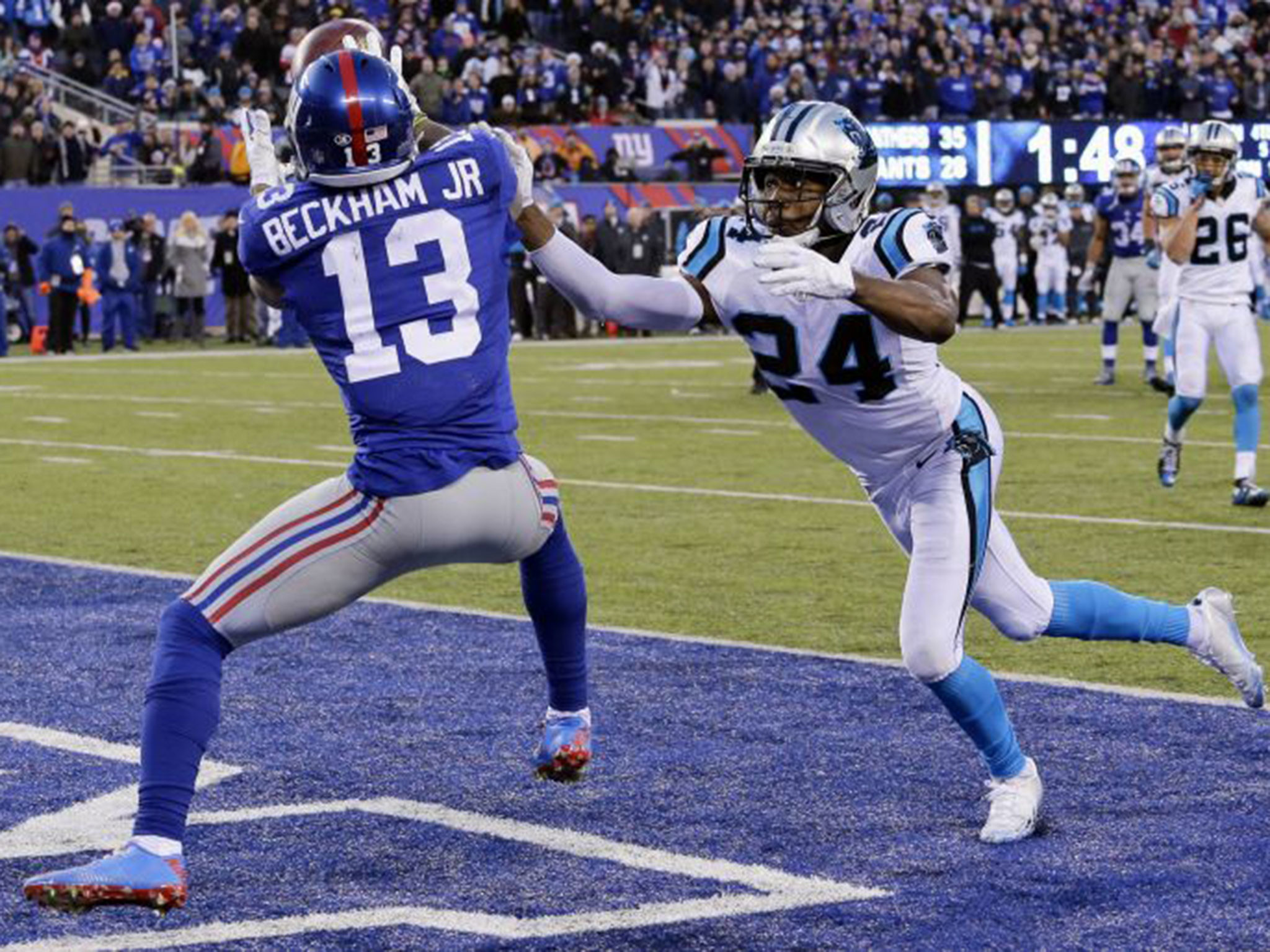 NFL: New York Giants' Odell Beckham Jr caught out in running battle with  Josh Norman   The Independent