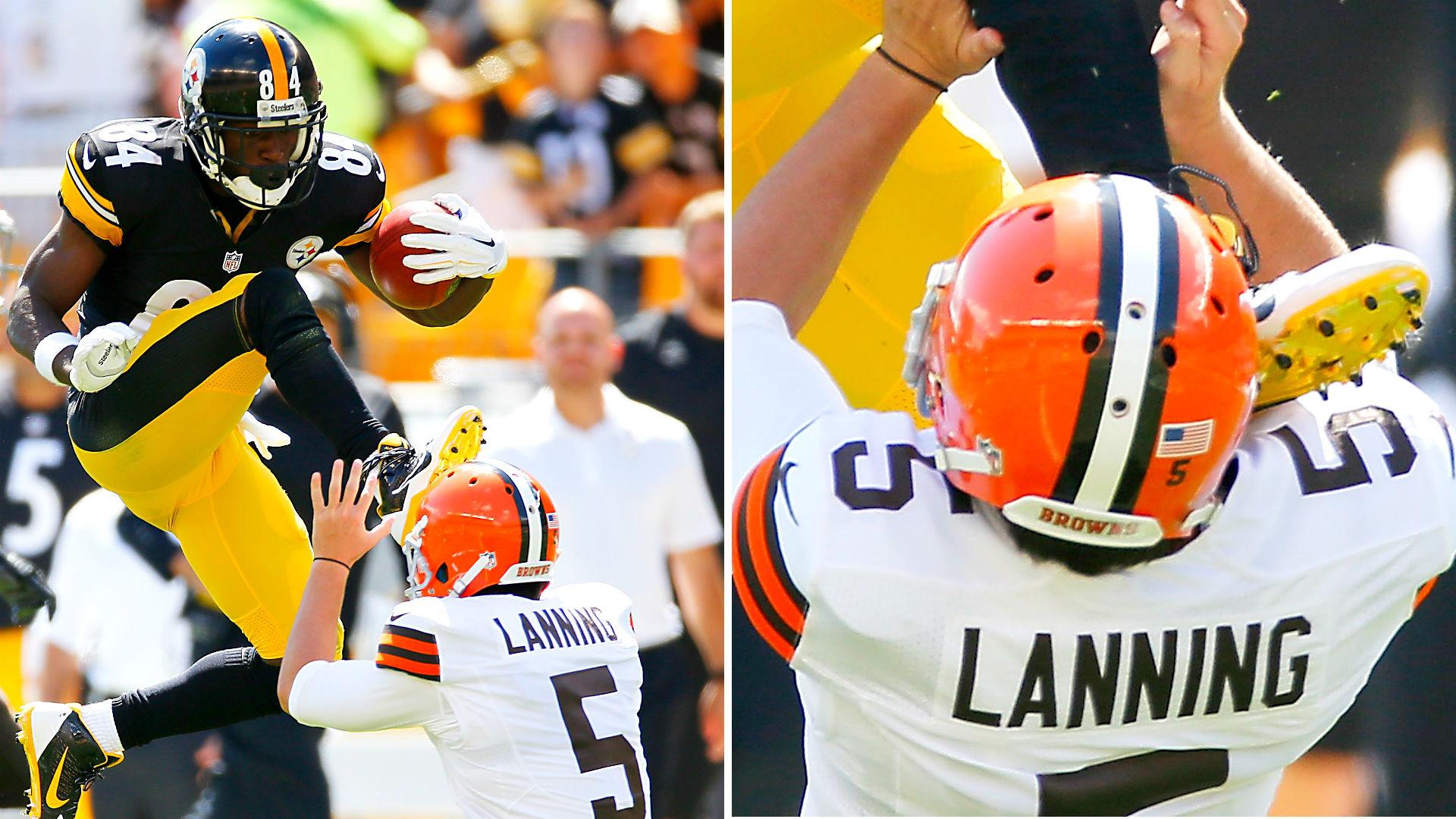 Antonio Brown karate kicks Browns punter in the face | NFL | Sporting News