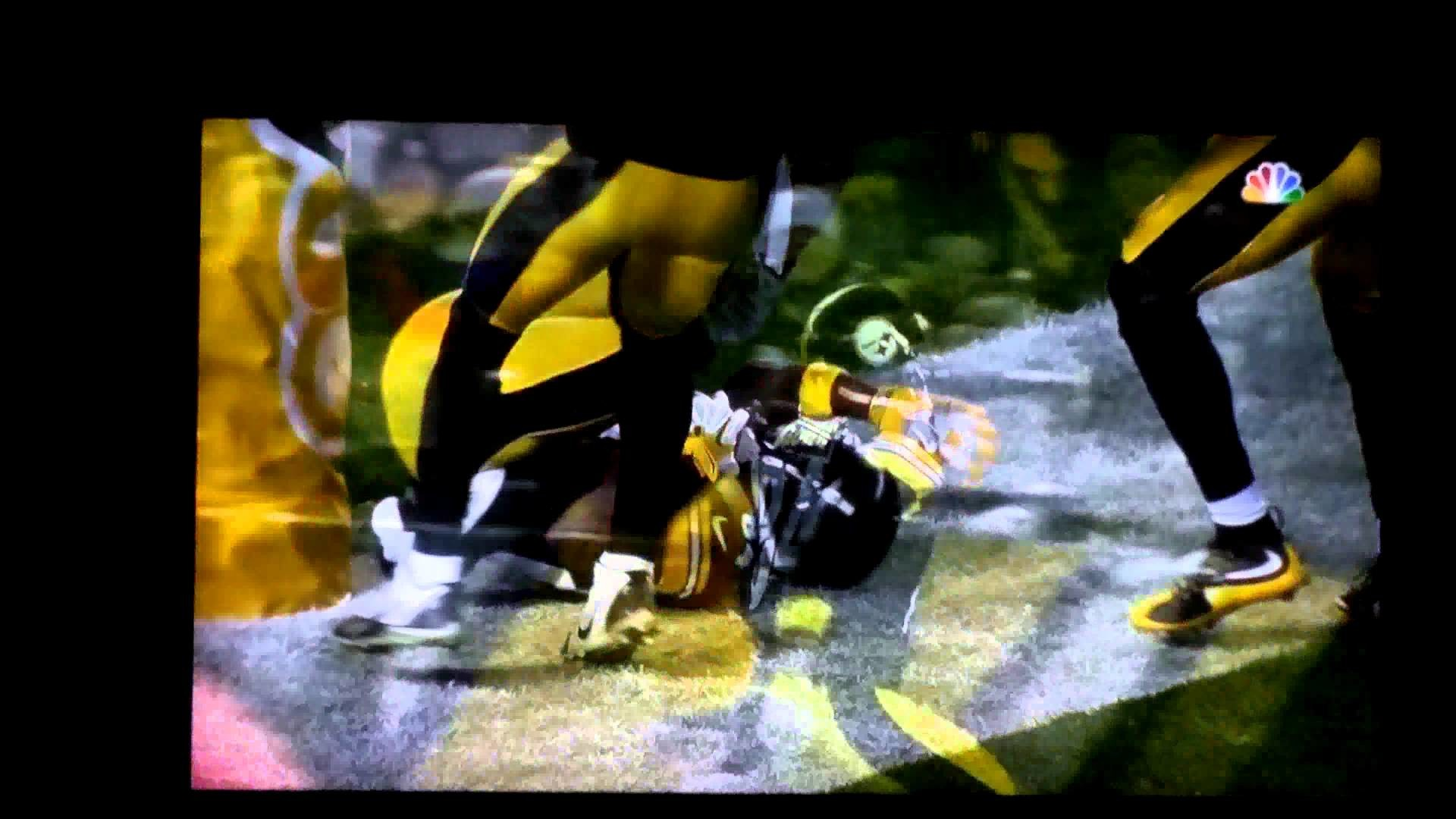 Steelers 84 Antonio brown touchdown pole hug!