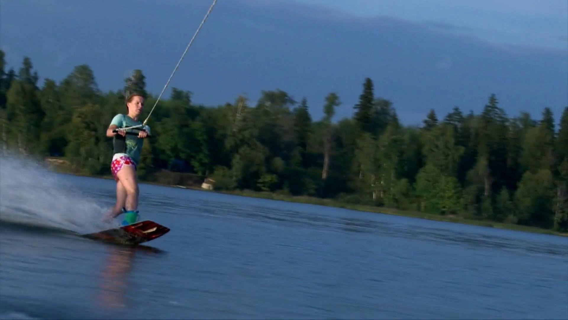 Beautiful girl on wakeboard, summer sunset on pond Stock Video Footage –  VideoBlocks