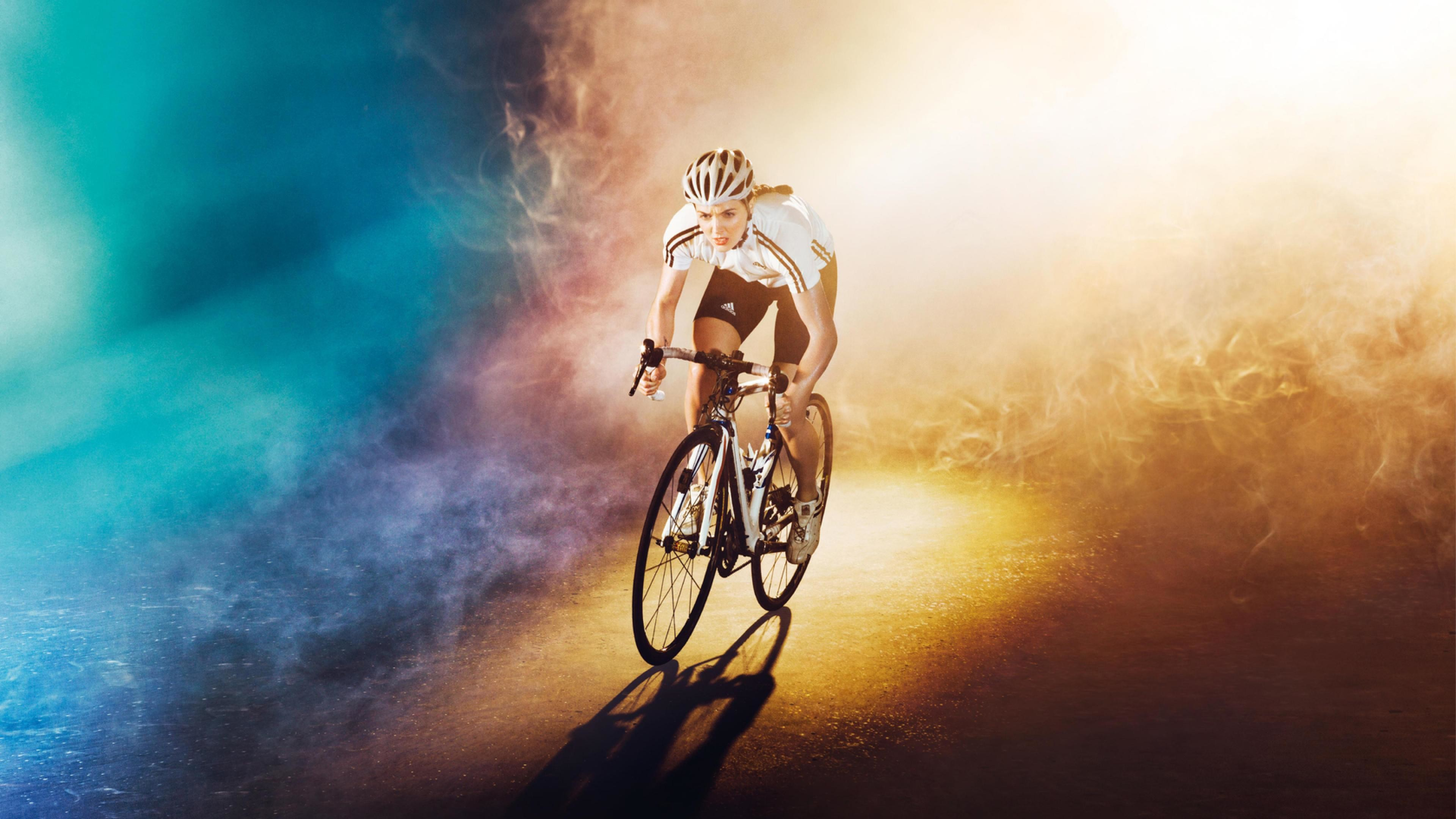 olympiad_bike_bicycle_girl_road_color_light_ultra-HD Wallpapers