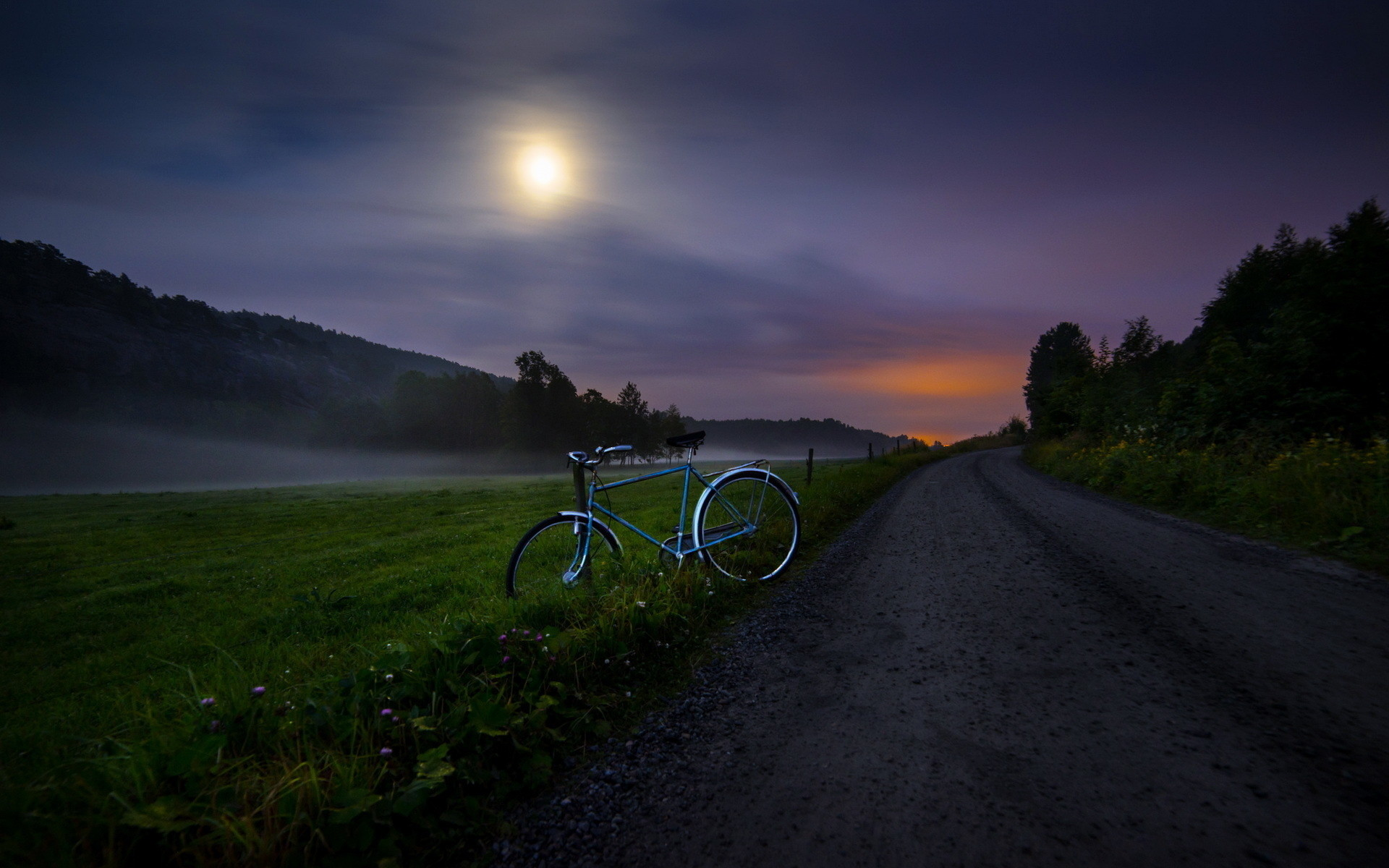 Bike, country road, night, clouds and fog: