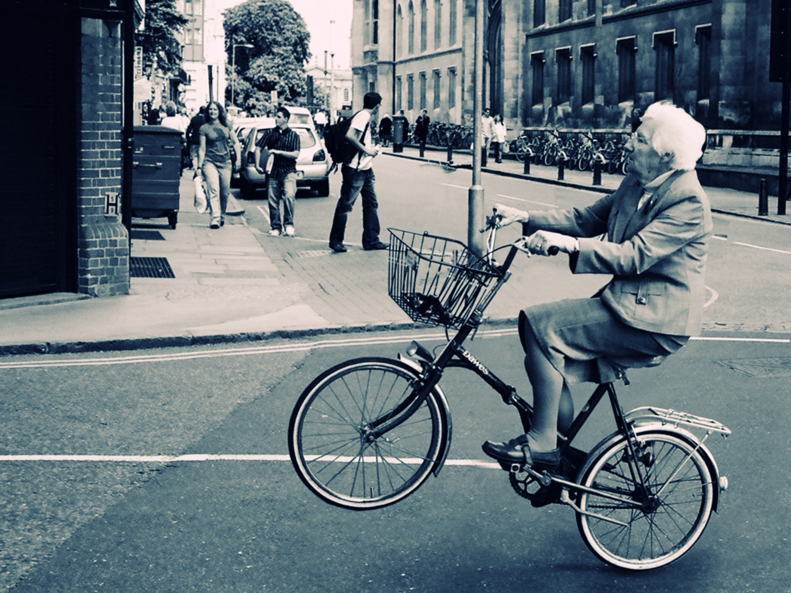 Old Lady Bicycle Wallpaper for