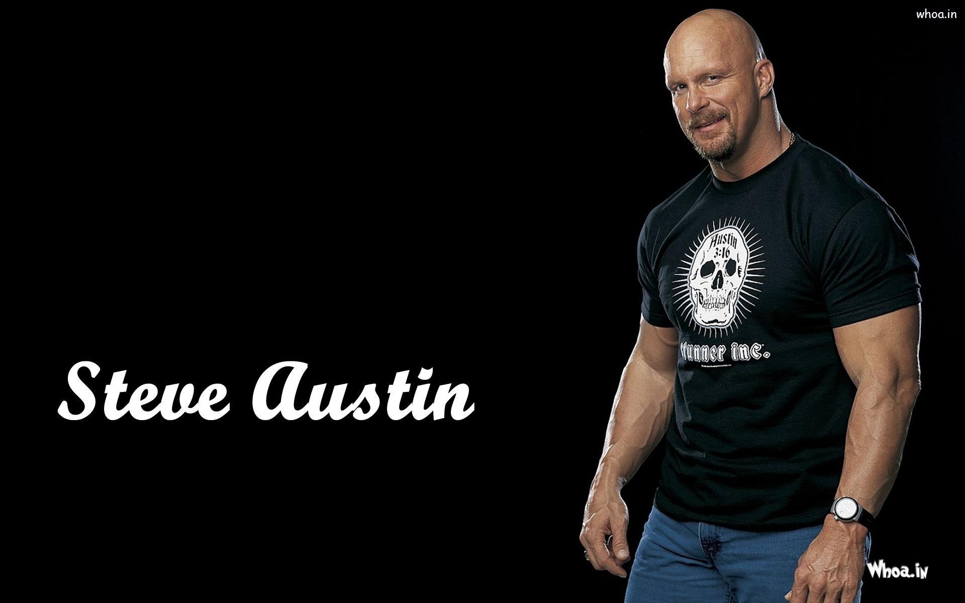 … Steve Austin in Black T-Shirt Wallpaper