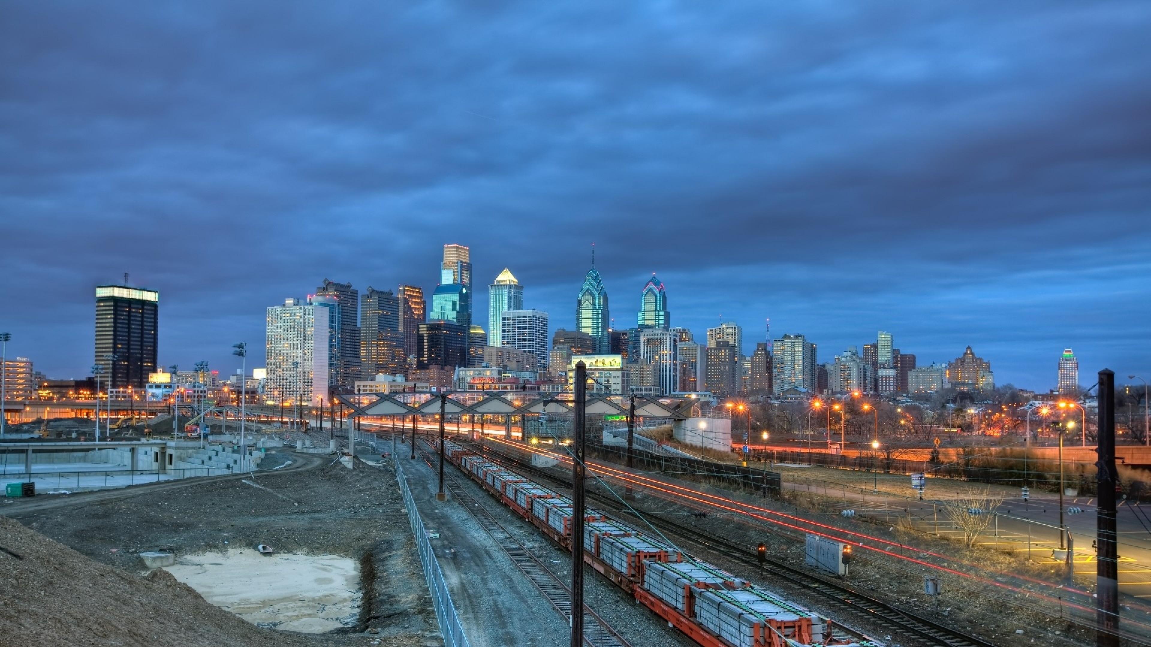 Preview wallpaper philadelphia, railway, building, city 3840×2160