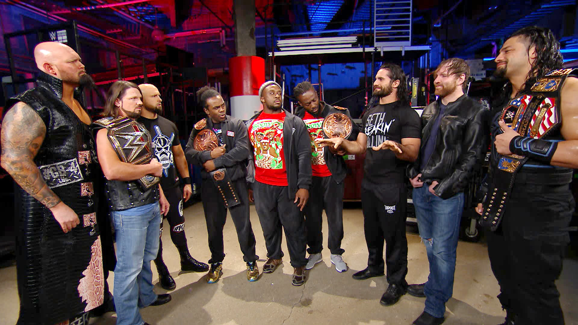 The New Day, The Club and The Shield stand face-to-to-face: Tribute to the  Troops, Dec. 14, 2016   WWE