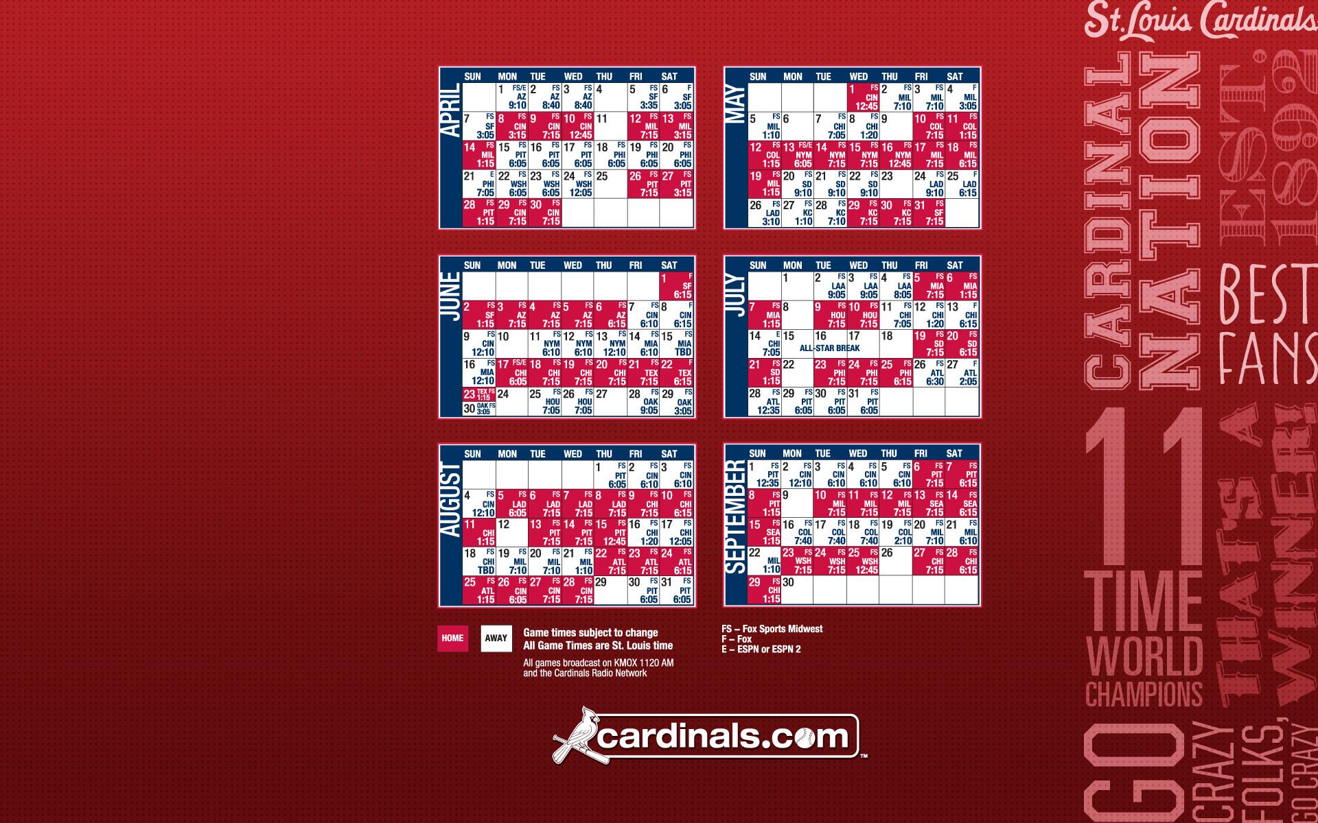 St Louis Cardinals Calendar 2013 1920×1200 Wallpaper