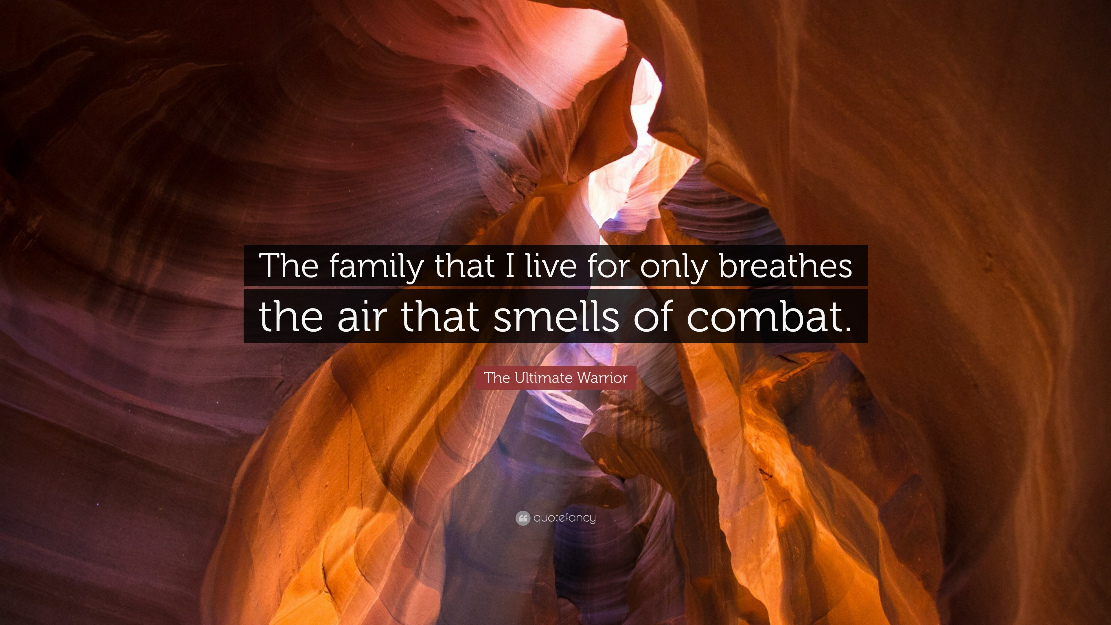 """The Ultimate Warrior Quote: """"The family that I live for only breathes the  air"""