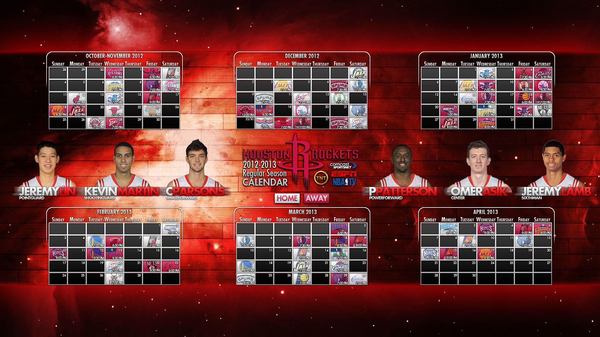 Houston Rockets 2012-2013 Schedule Wallpaper