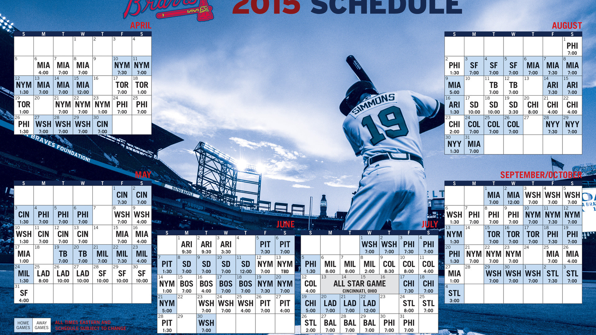Atlanta Braves, Schedule, Mlb, Braves, Baseball, Sports, 2015, Atlanta