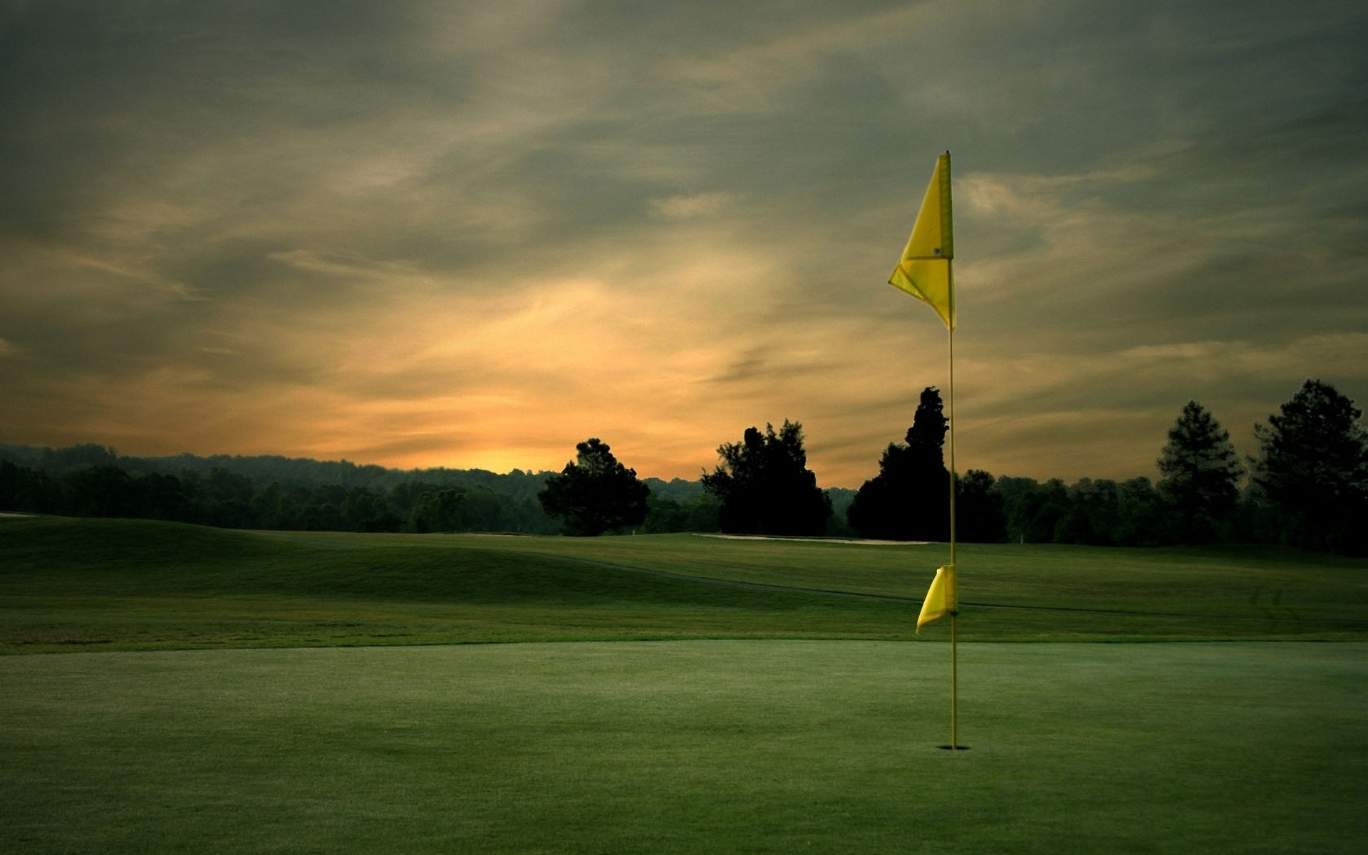 Golf flagpole sunset Wallpapers, Wallpapers .