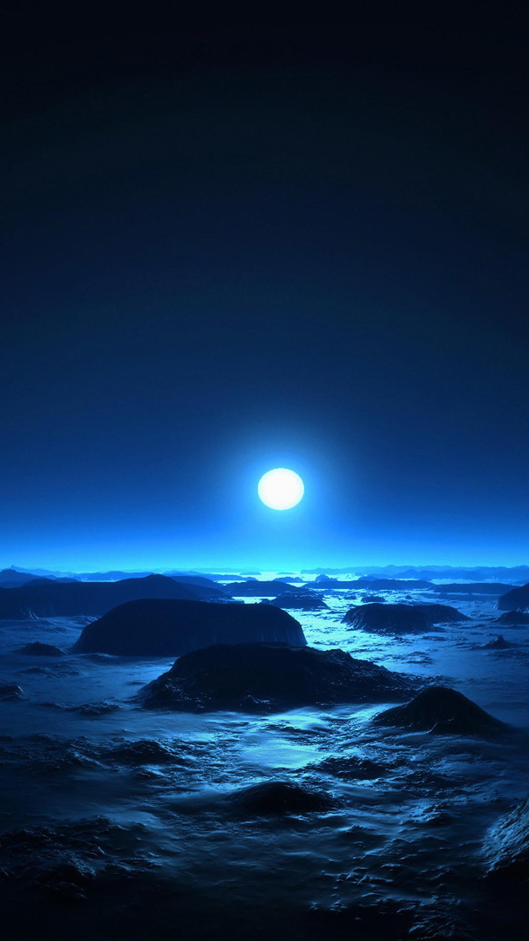 Alien Moon Over Ocean Rock Beach Cold Moonlight iPhone 6 wallpaper