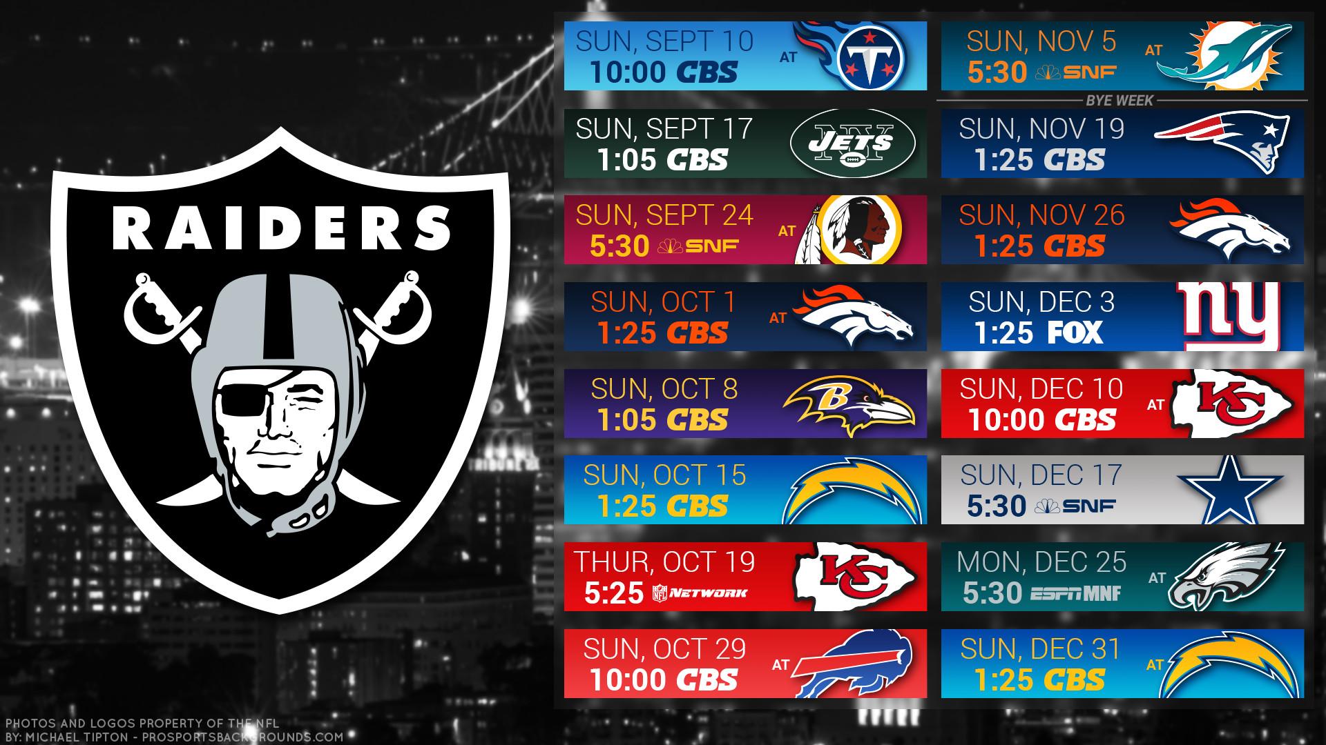 Oakland Raiders 2017 schedule city football logo wallpaper free pc desktop  computer …