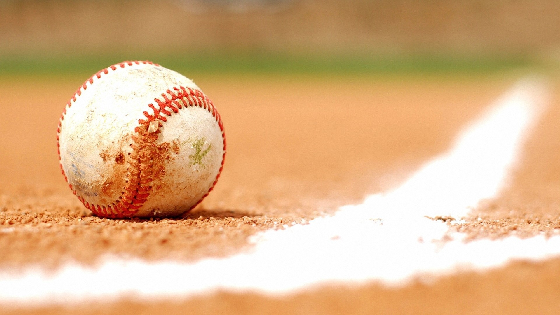 Ball and baseball field wallpaper: