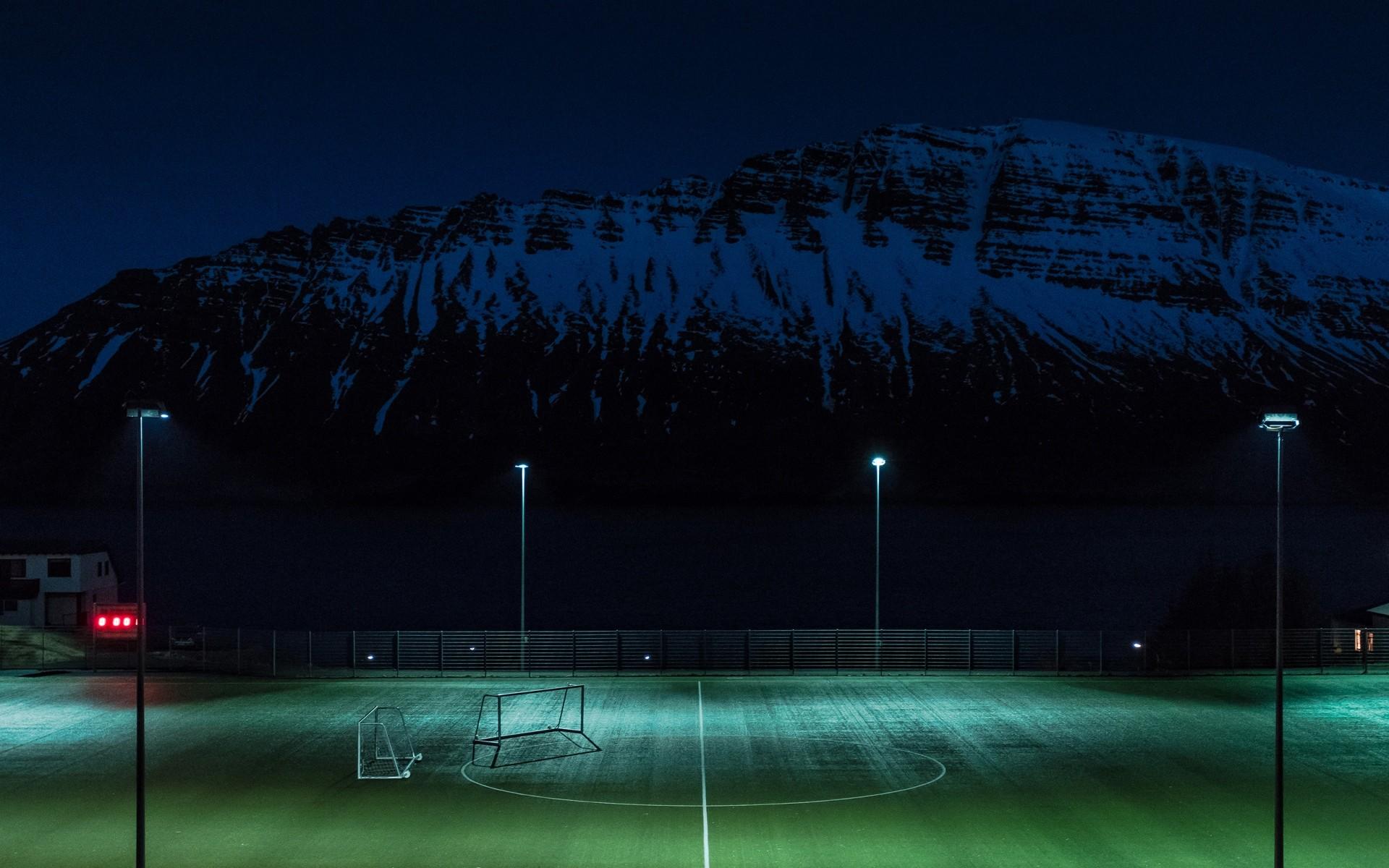 Wallpaper football field, night, lawn, playground