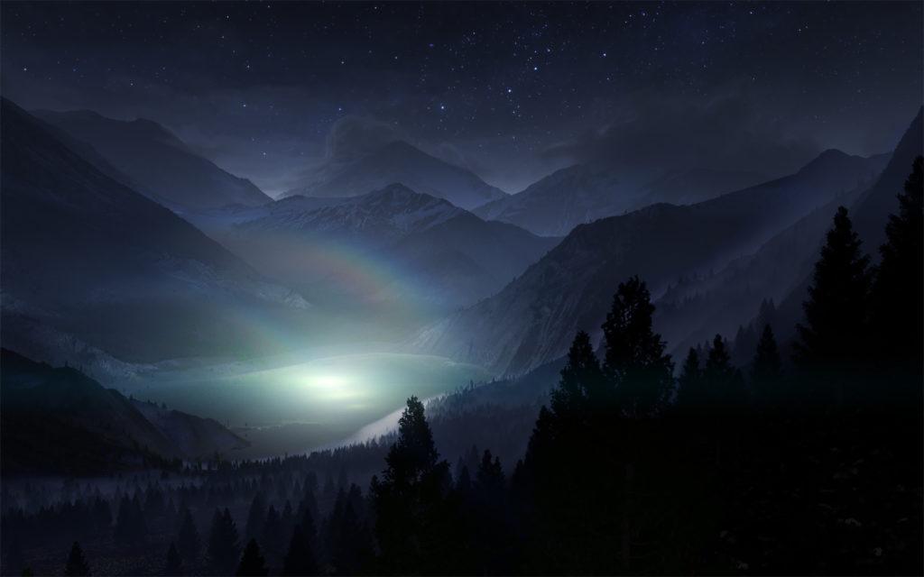 Lake At Night Stars