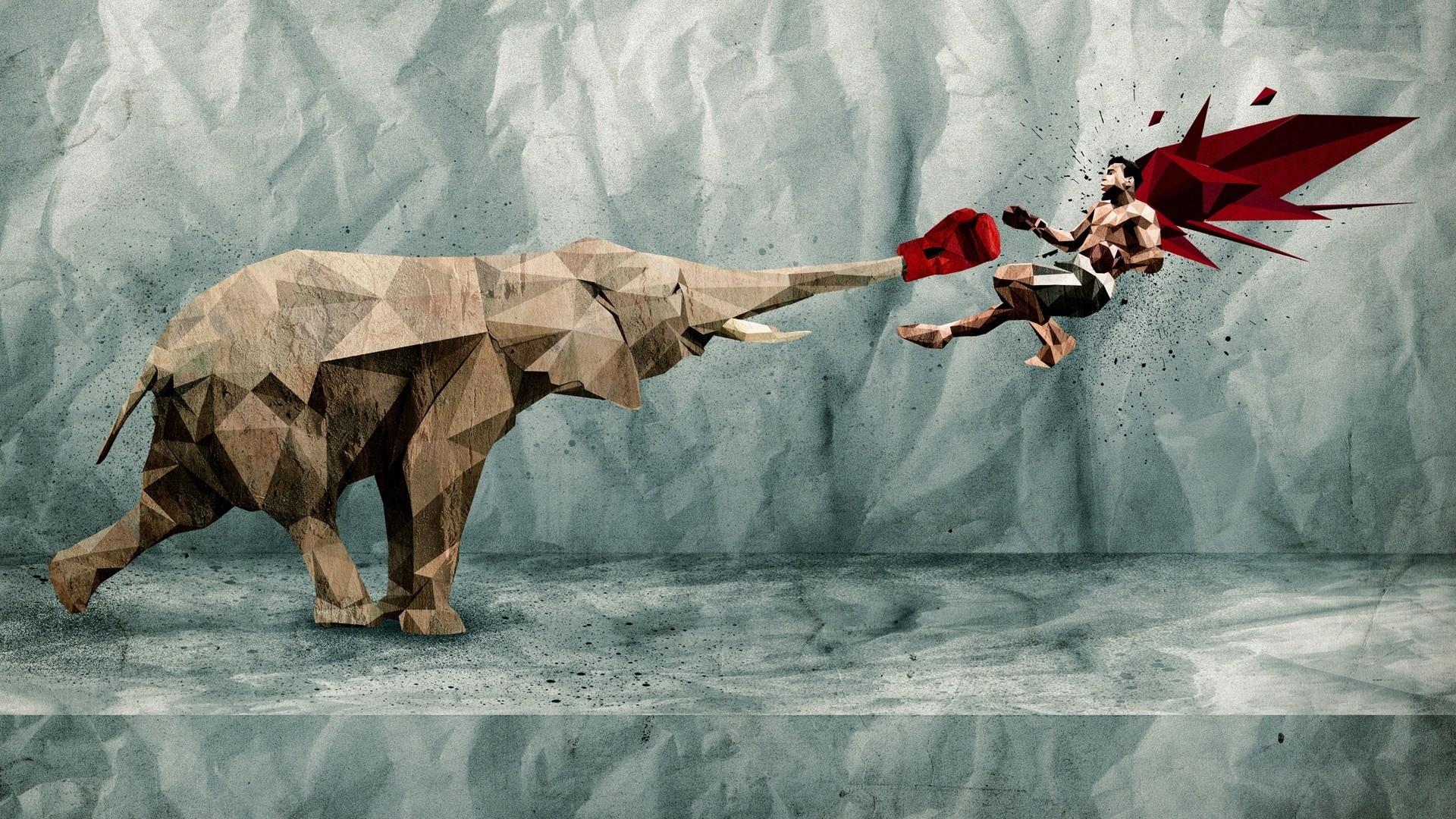 graphics, paper, elephant, boxing, kick