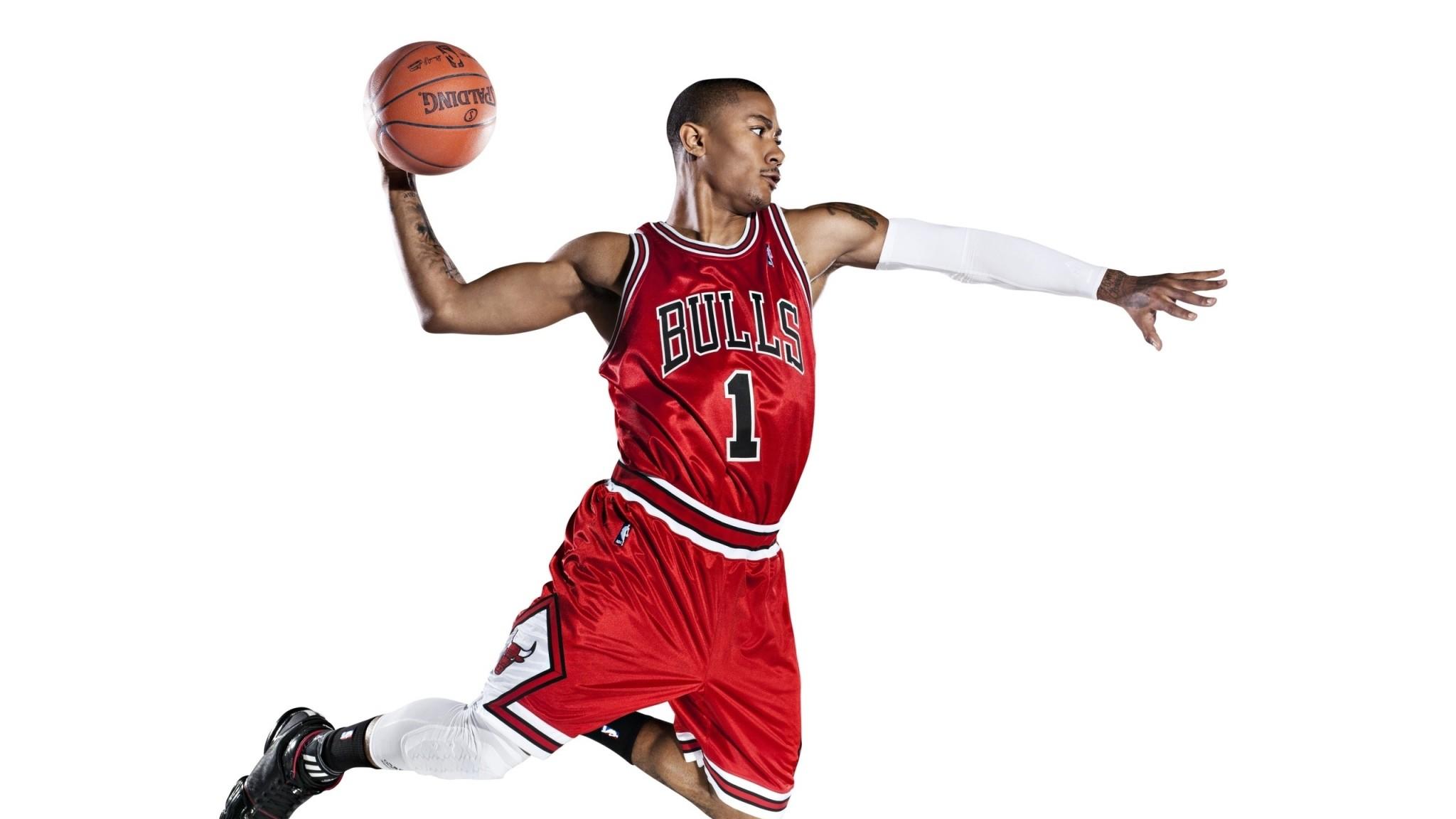 Preview wallpaper chicago bulls, slam dunk, basketball, nba, derrick rose  2048×1152