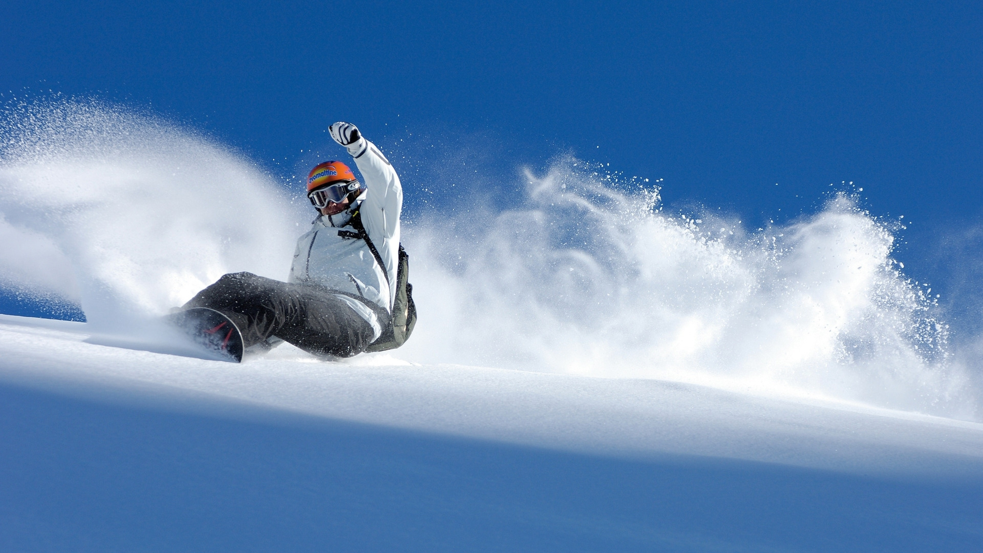 Preview wallpaper snowboard, descent, extreme, snow, balance 3840×2160