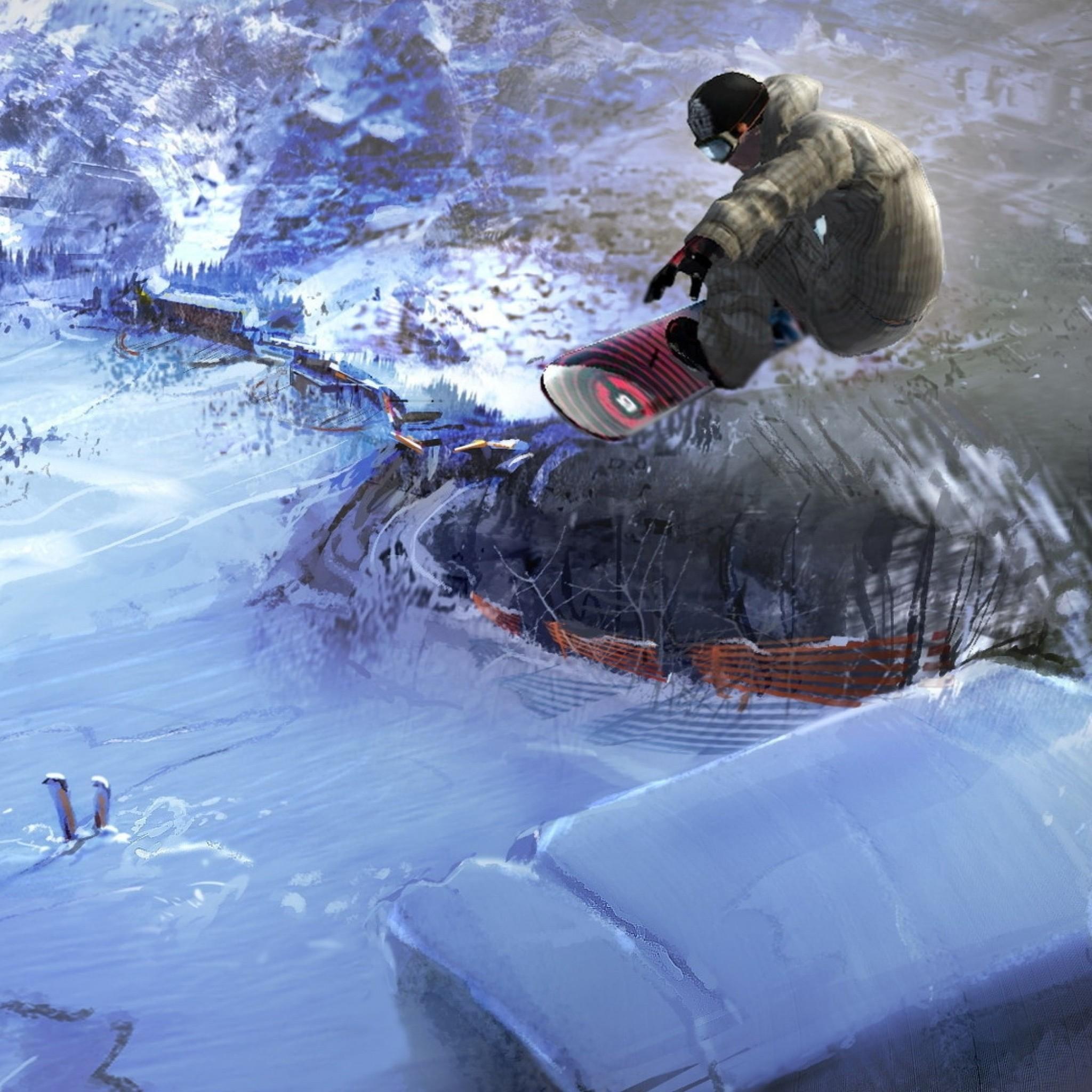 Preview wallpaper snowboard, jump, extreme, descent, village 2048×2048