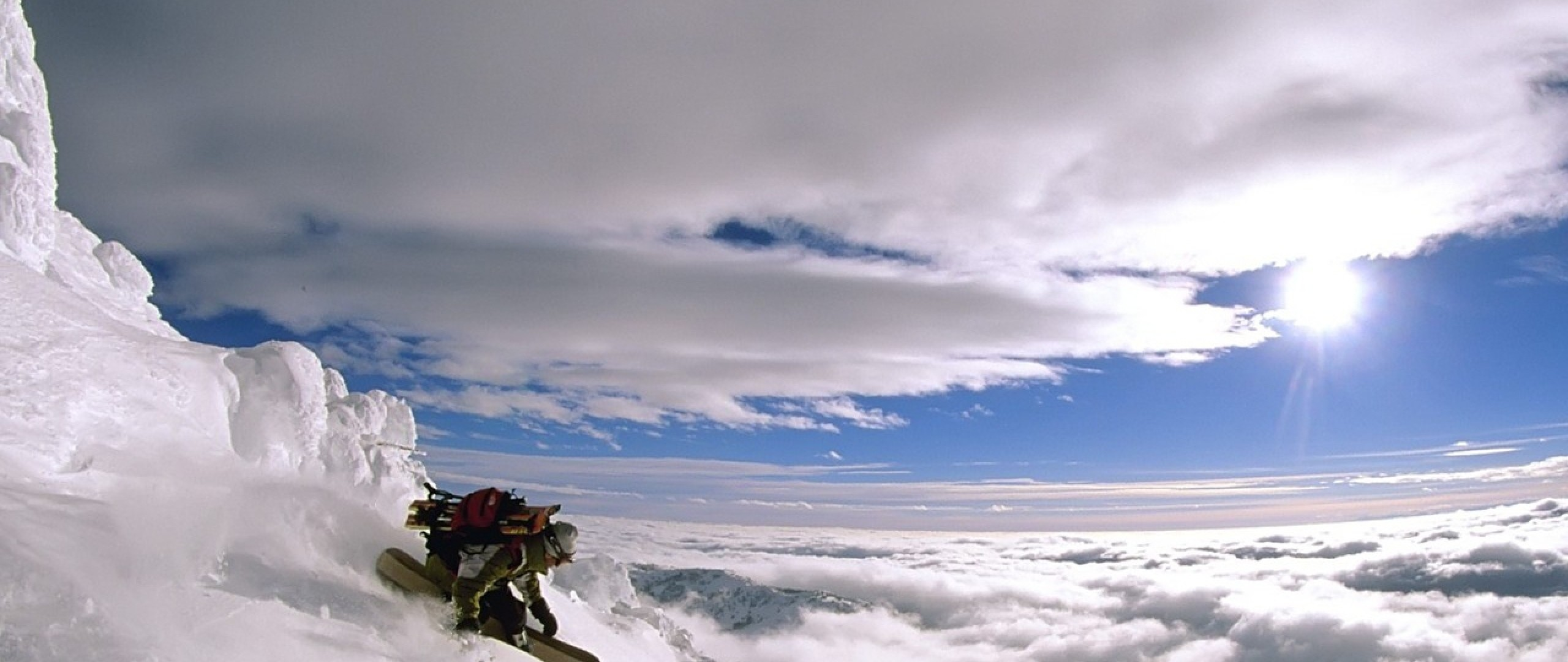 Preview wallpaper extreme, descent, vertical, snowboard, height, mountain,  person 2560×1080