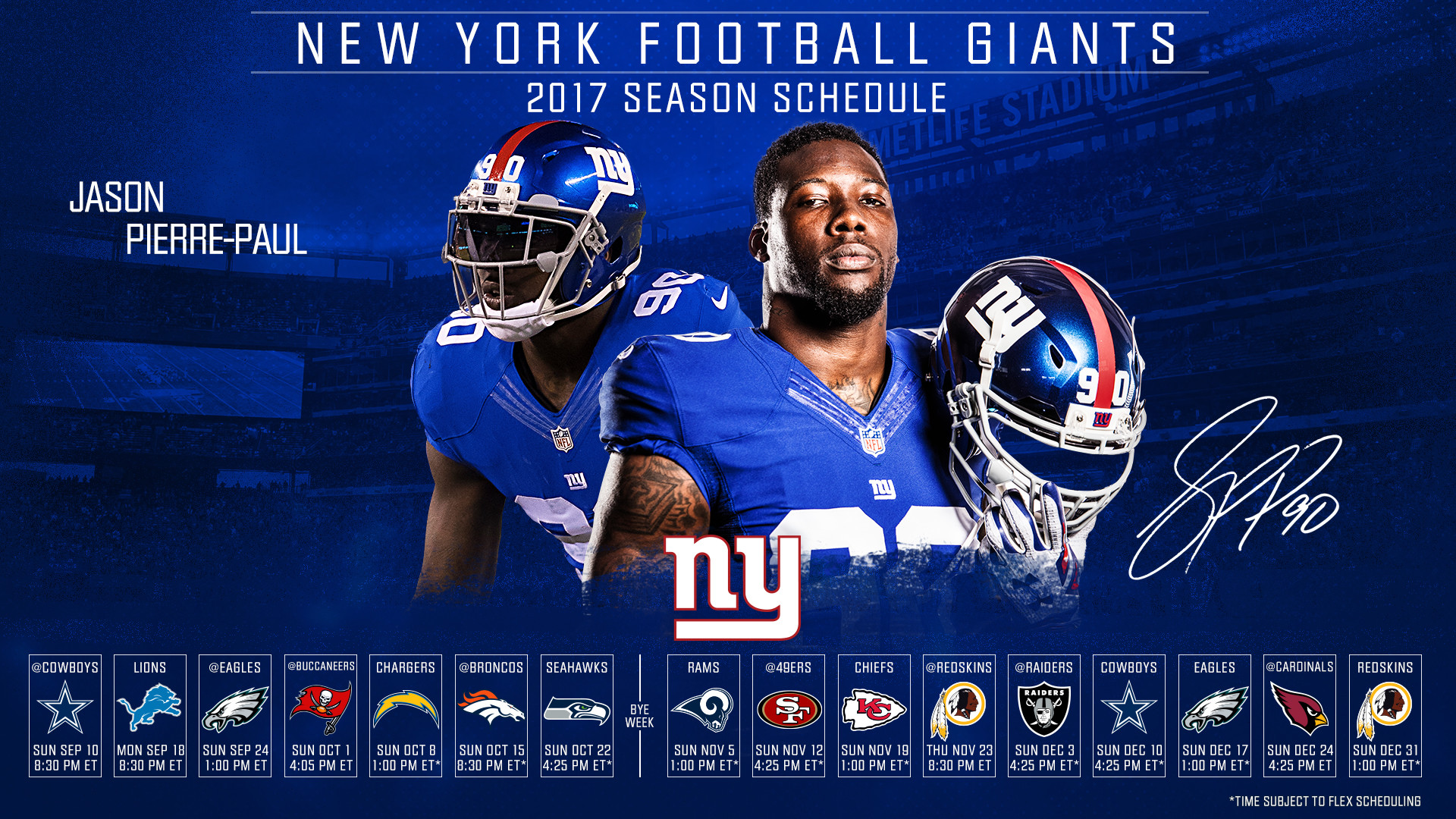 Click one of the thumbnails below to download the New York Giants 2017  schedule desktop wallpaper. For desktop wallpapers, right-click on the  image and …