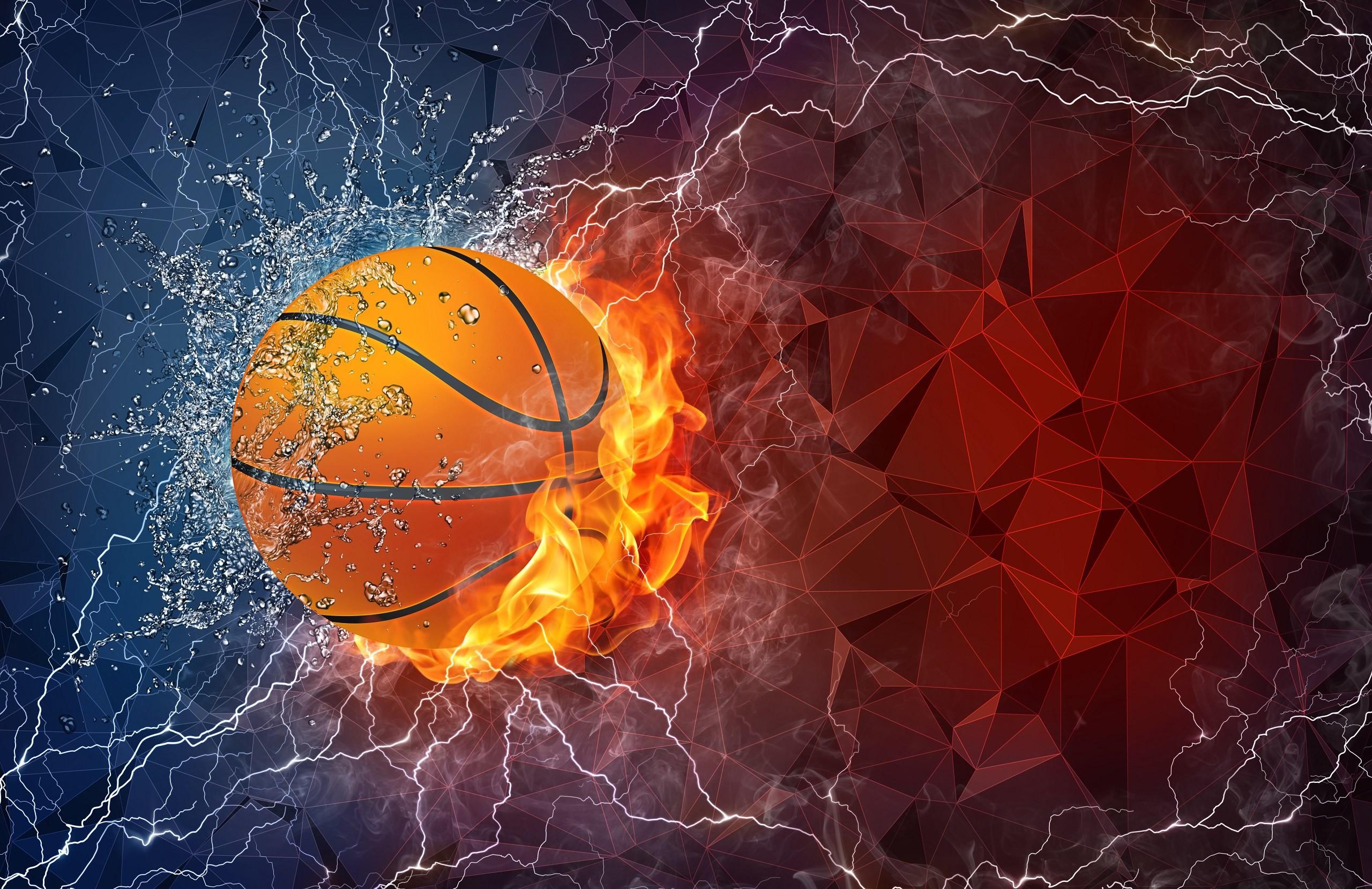 RJJ7PtL QQ8SrBF Basketball ball in fire and water …