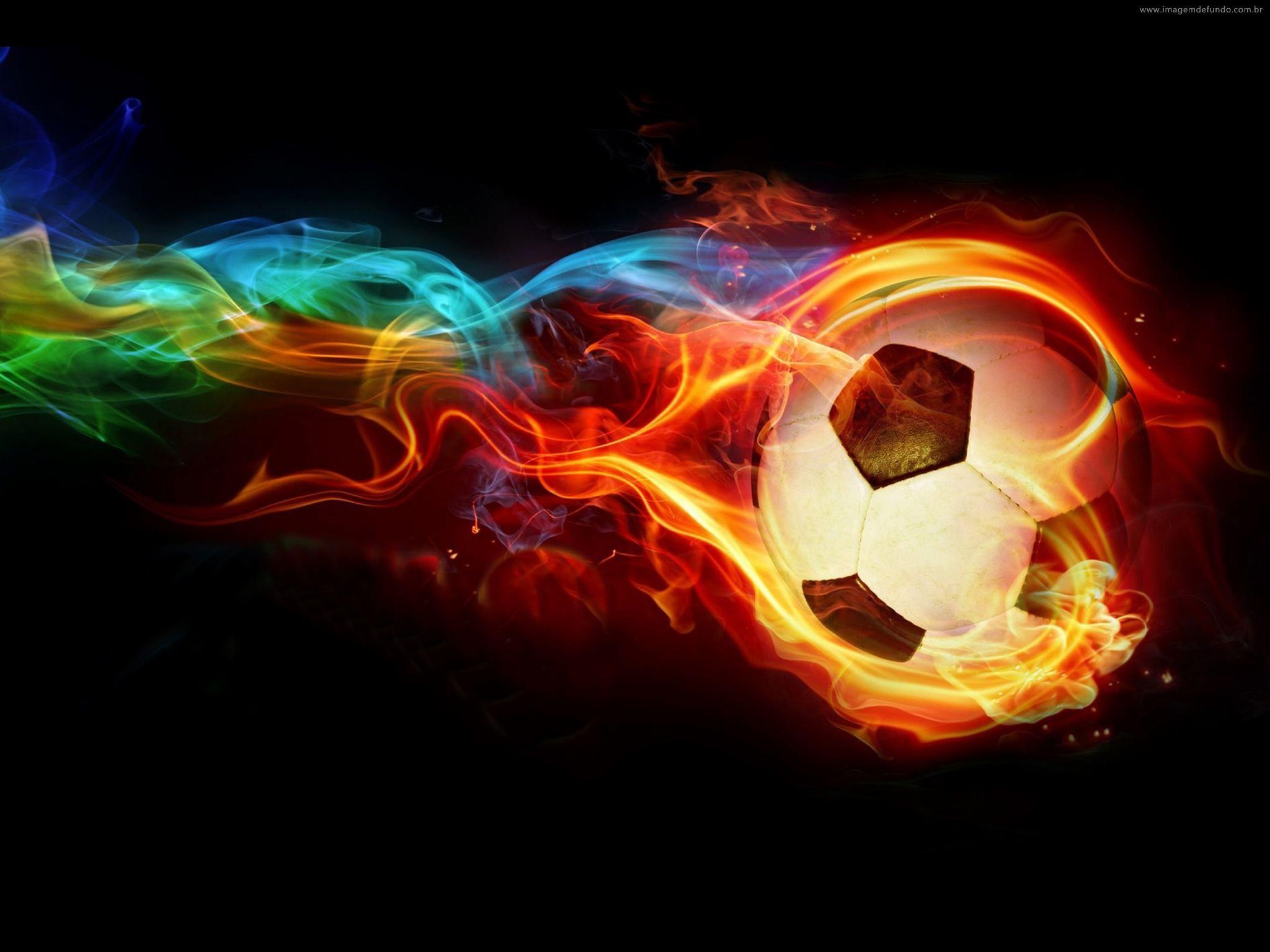 Download Neon Fire Soccer Ball wallpaper